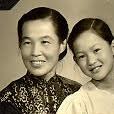 Sepia toned image of Alice Huang in her childhood with an adult