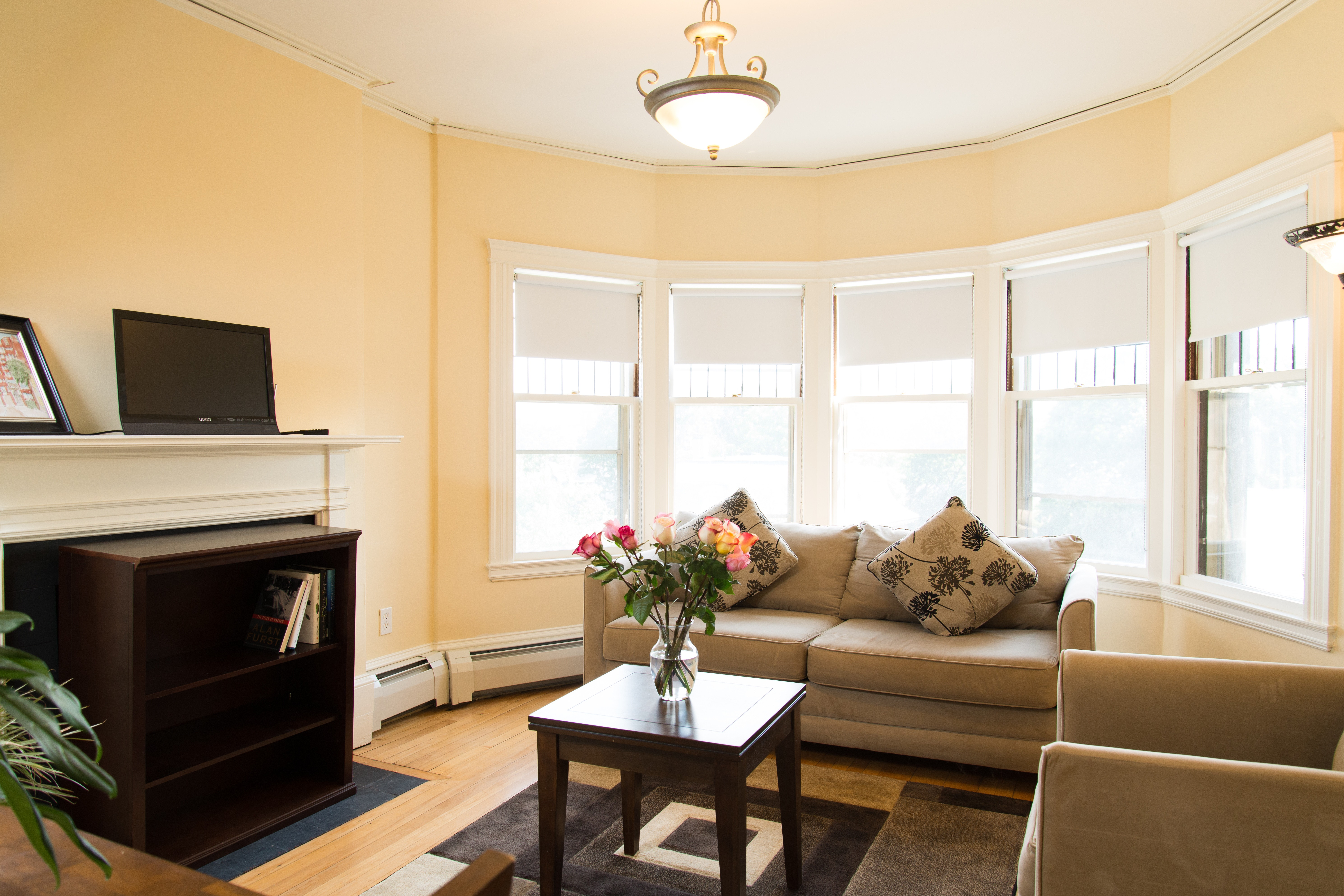 Living room of 83 Brattle Street one bedroom with hallway apartment with furnishings