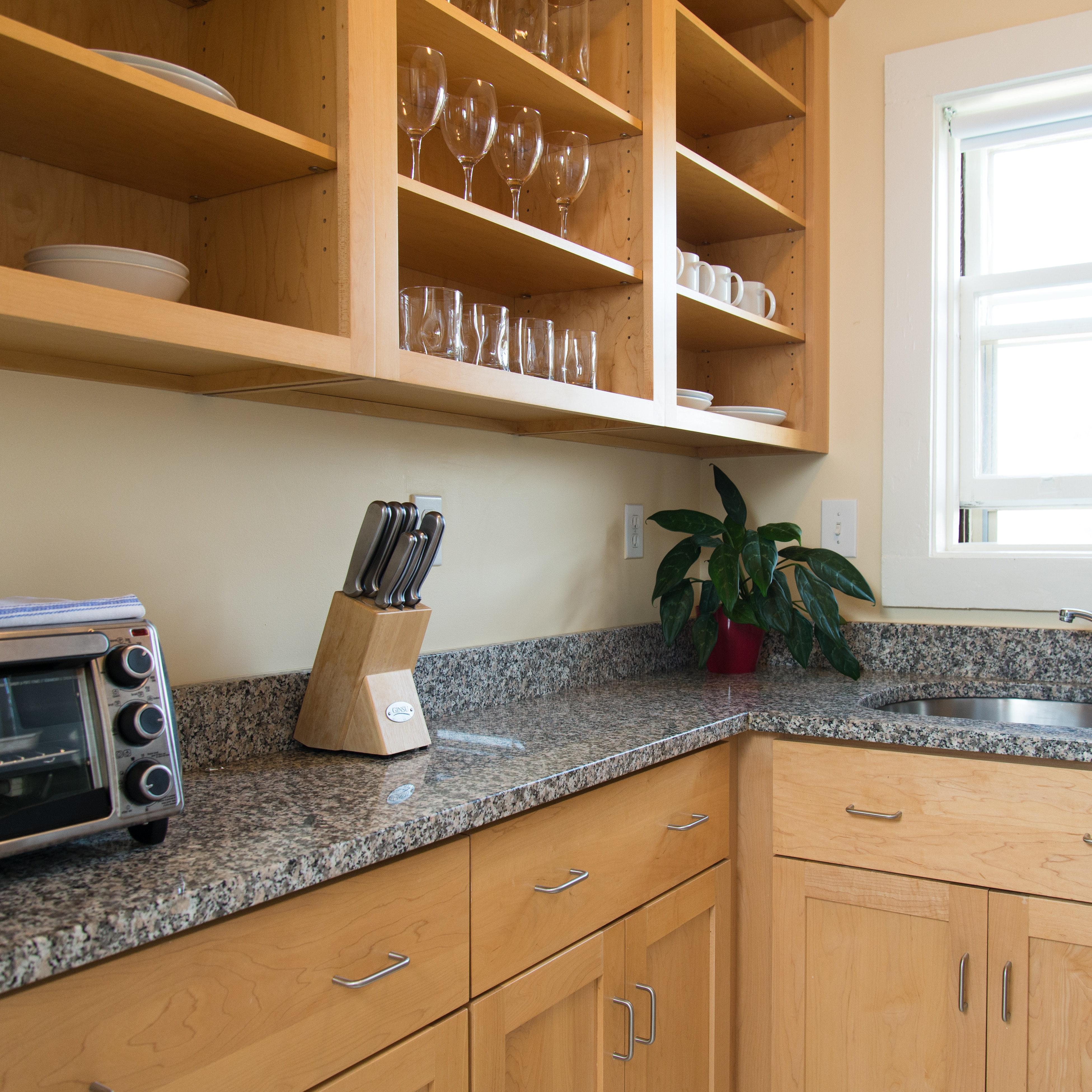 Kitchen in 83 Brattle Street one bedroom with hallway apartment