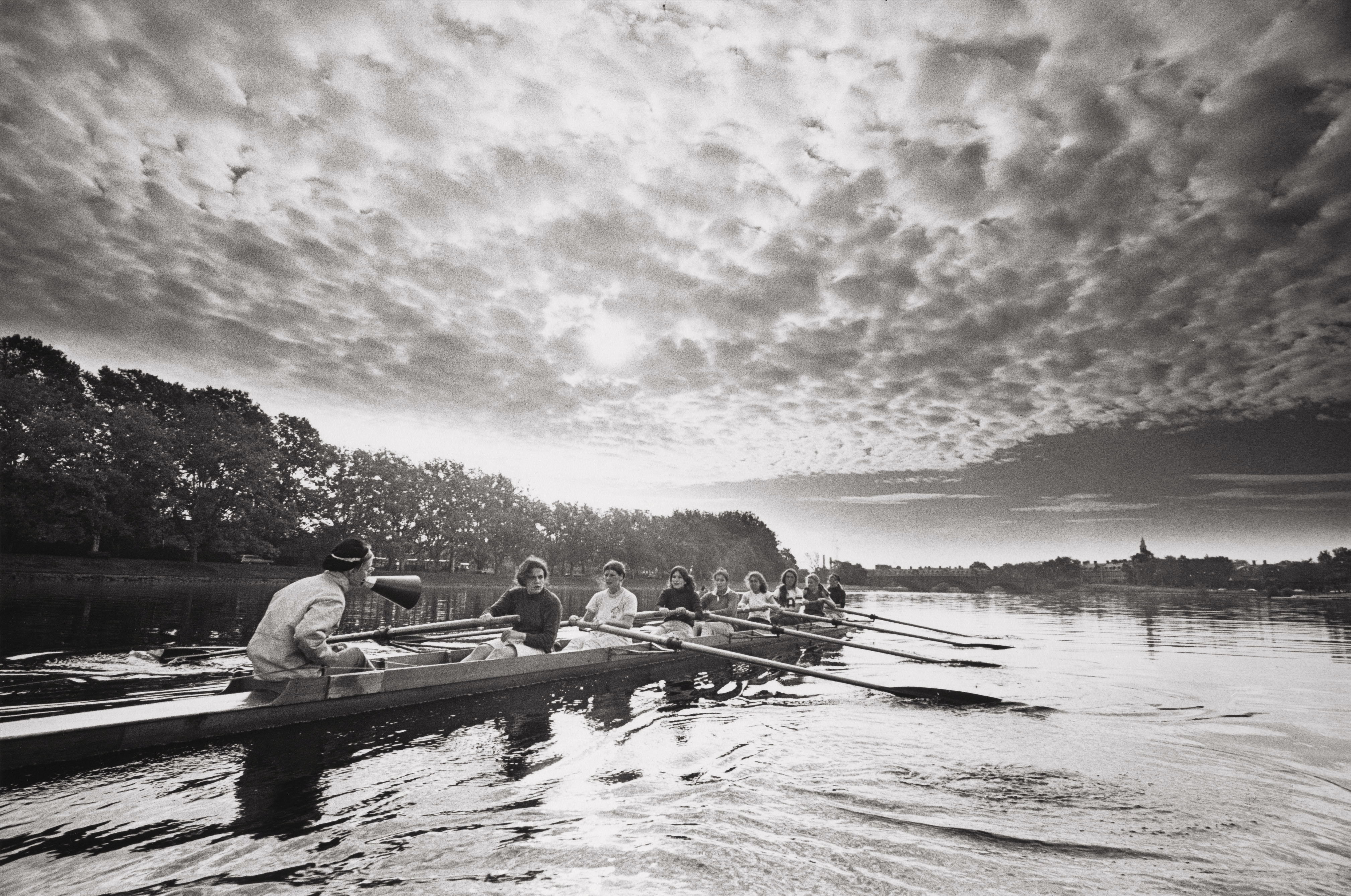 Rowing team in boat