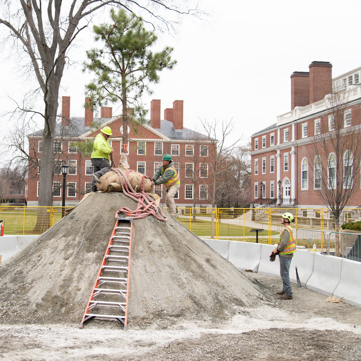 Three construction workers working on mound of sand