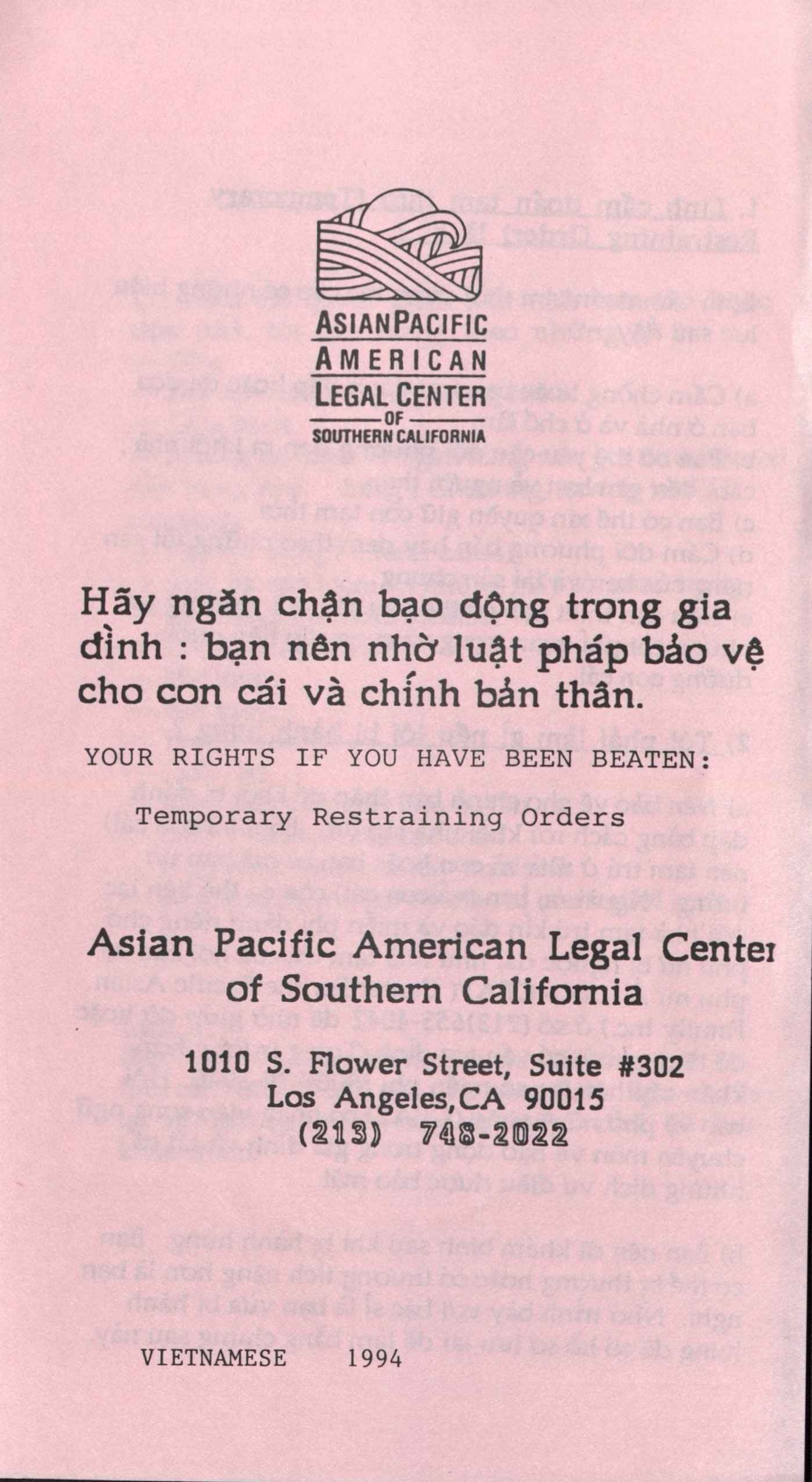Pamphlet for Vietnamese women suffering from domestic violence