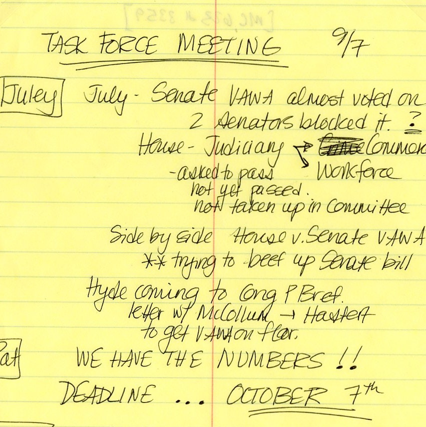 Meeting minutes from the National Task Force to End Sexual Assault and Domestic Violence