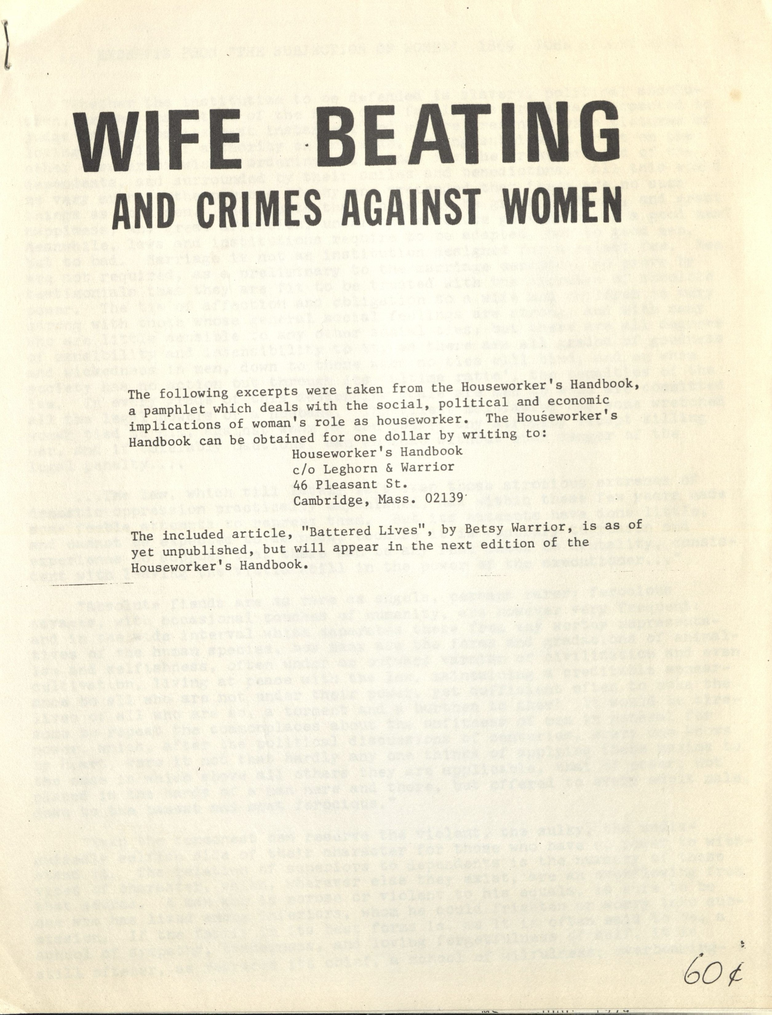 Document against wife beating from the Transition House