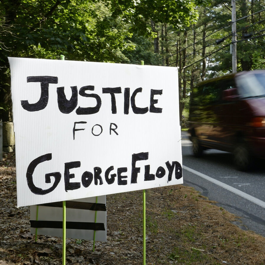 "Poster depicting ""Justice for George Floyd"""
