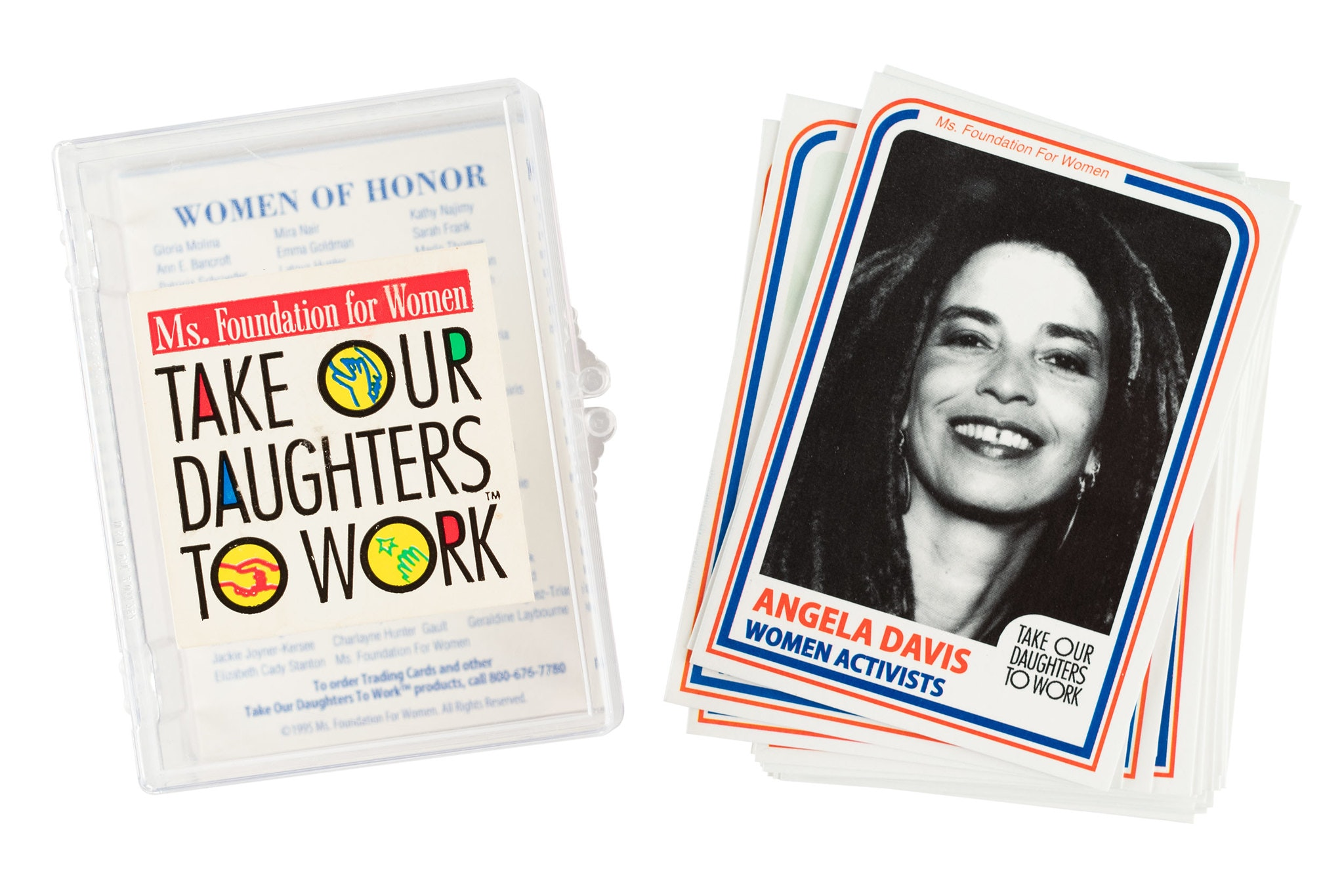 Trading card pack with headshot of Angela Davis on one face of the card.