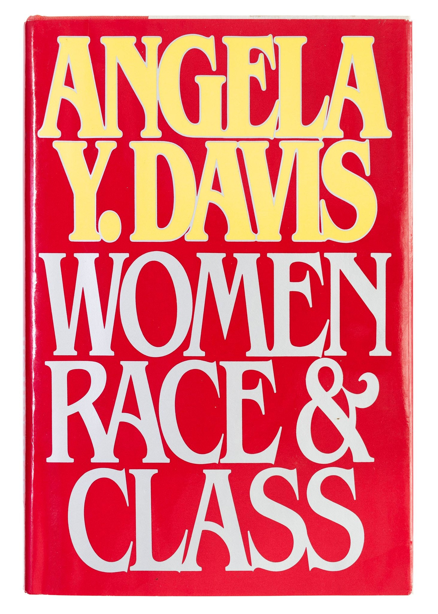 """Red book cover with """"Angela Y Davis,"""" in yellow text, and """"Women Race & Class,"""" in a light grey text."""
