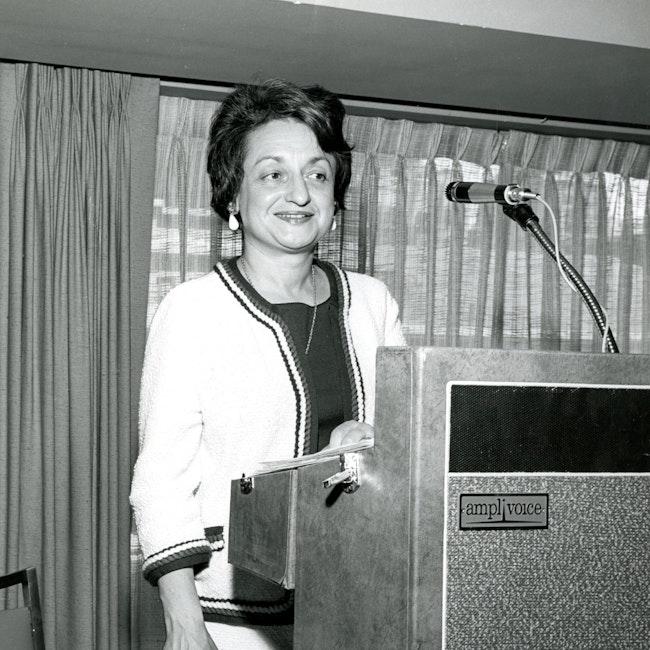 Betty Friedan at podium