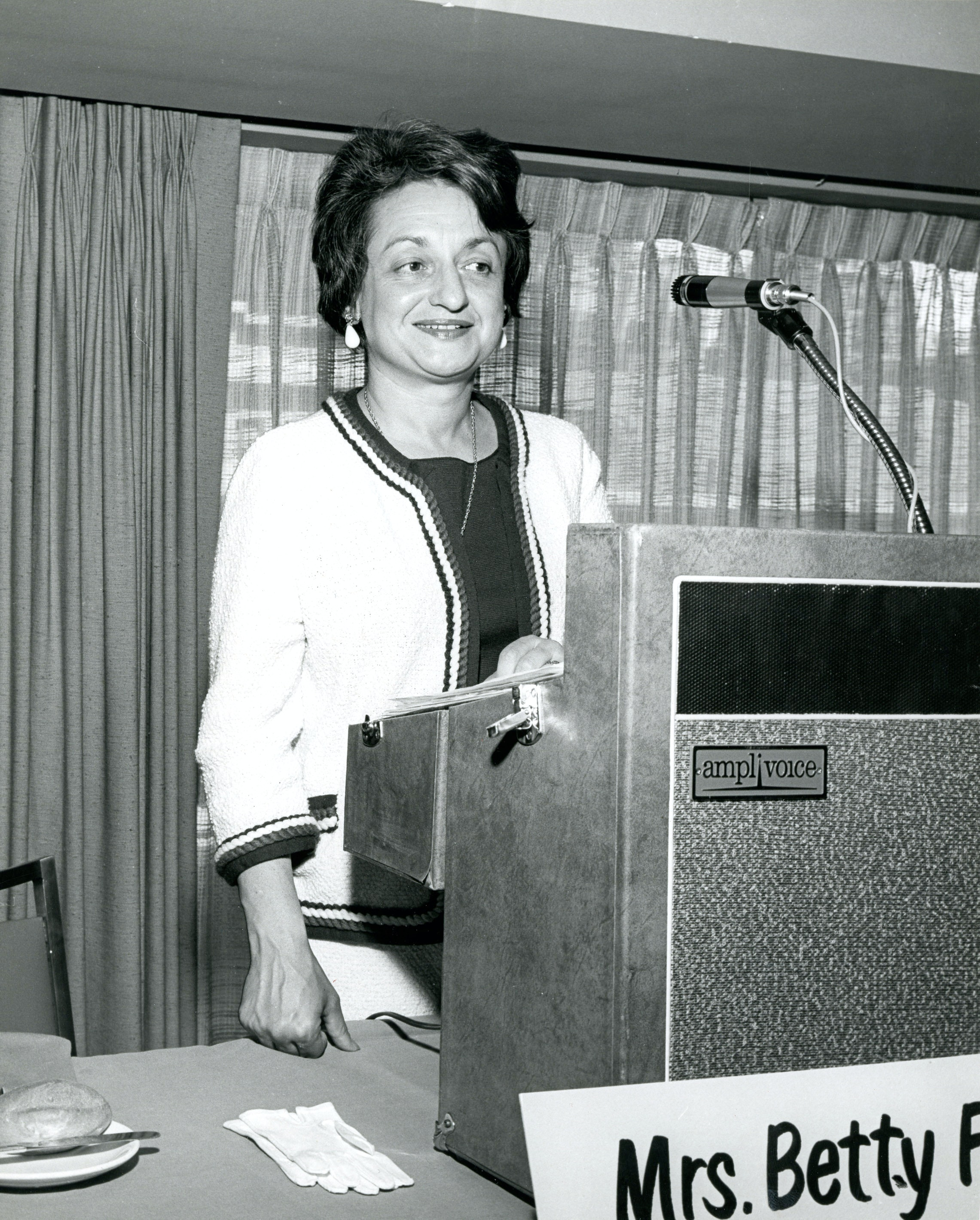Betty Friedan at podium