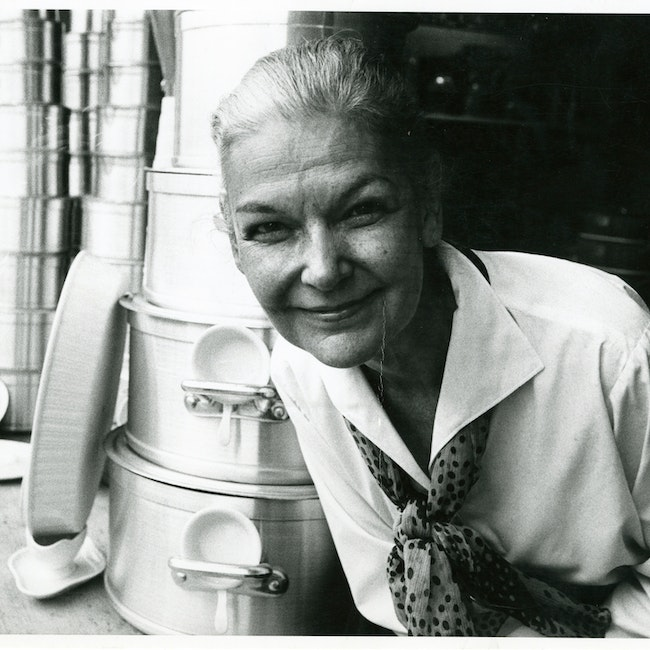 Elizabeth David posing with pots and pans