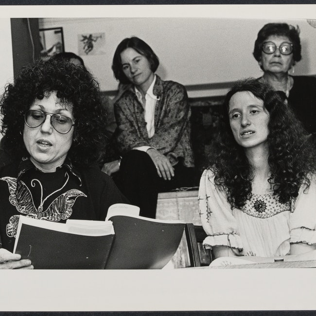 "Judy Chicago reading ""Revelations of the Goddess: A Chronical of the Dinner Party"" at the Woman's Salon"
