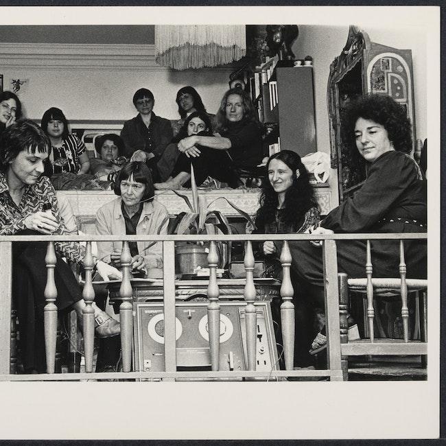 Left to right: Adrienne Rich, Barbara Deming, Erika Duncan, Glora Orenstein at the Woman's Salon