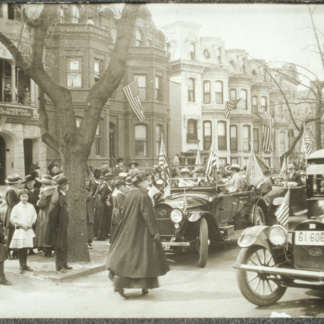 Gathering in front of the National American Woman Suffrage Association headquarters on the arrival of Jeannette Rankin in Washington as the first U. S. Congresswoman