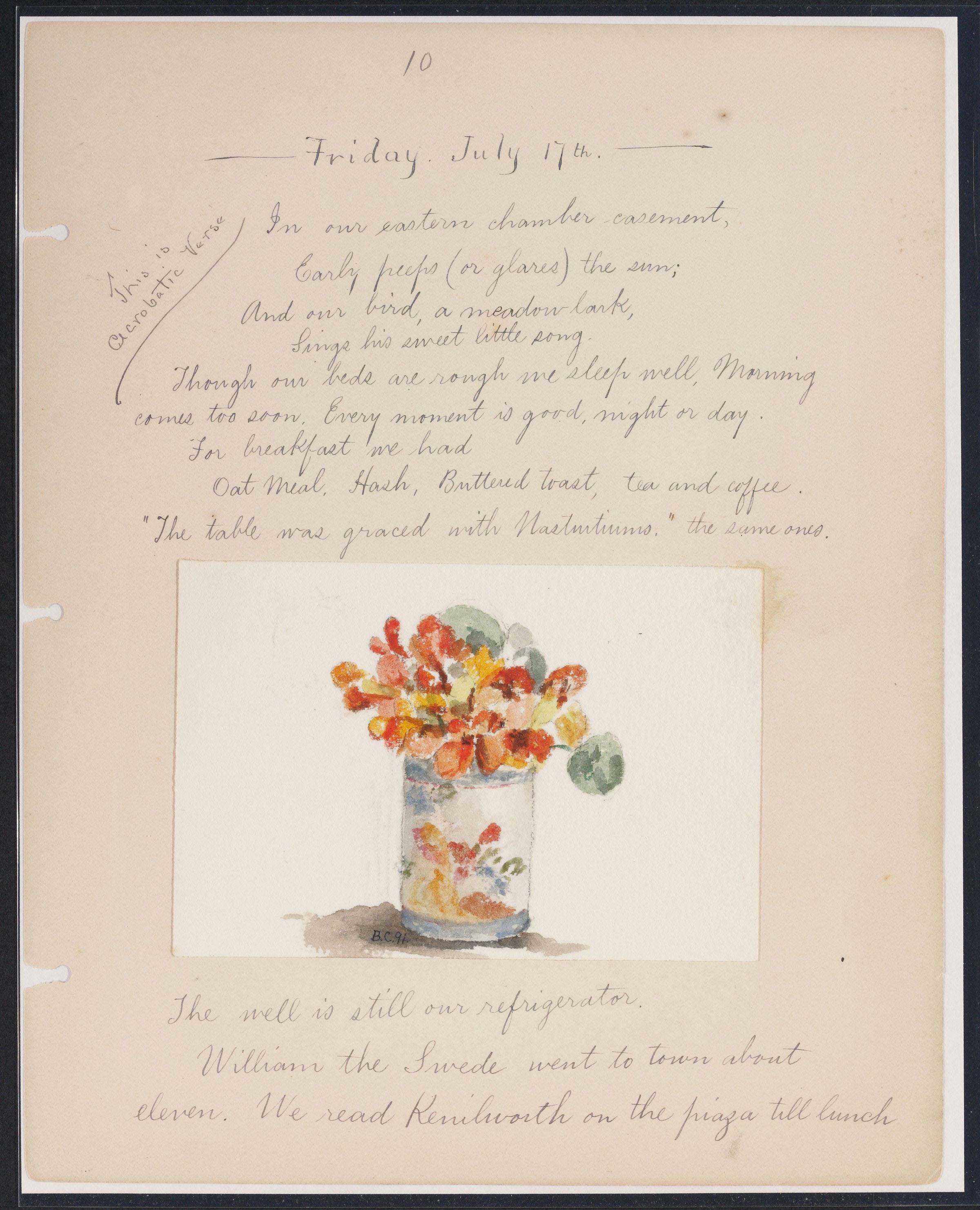 Page from Helen Augusta Whittier's Album