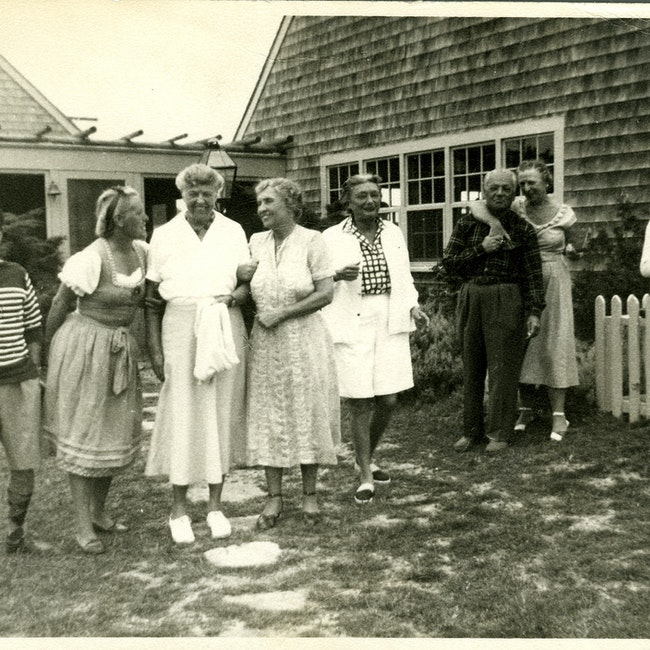 "Helen Keller with others, including Eleanor Roosevelt, Kit Cornell, and Joseph Lash at ""Chip-Chop,"" Cornell's home on Martha's Vineyard"