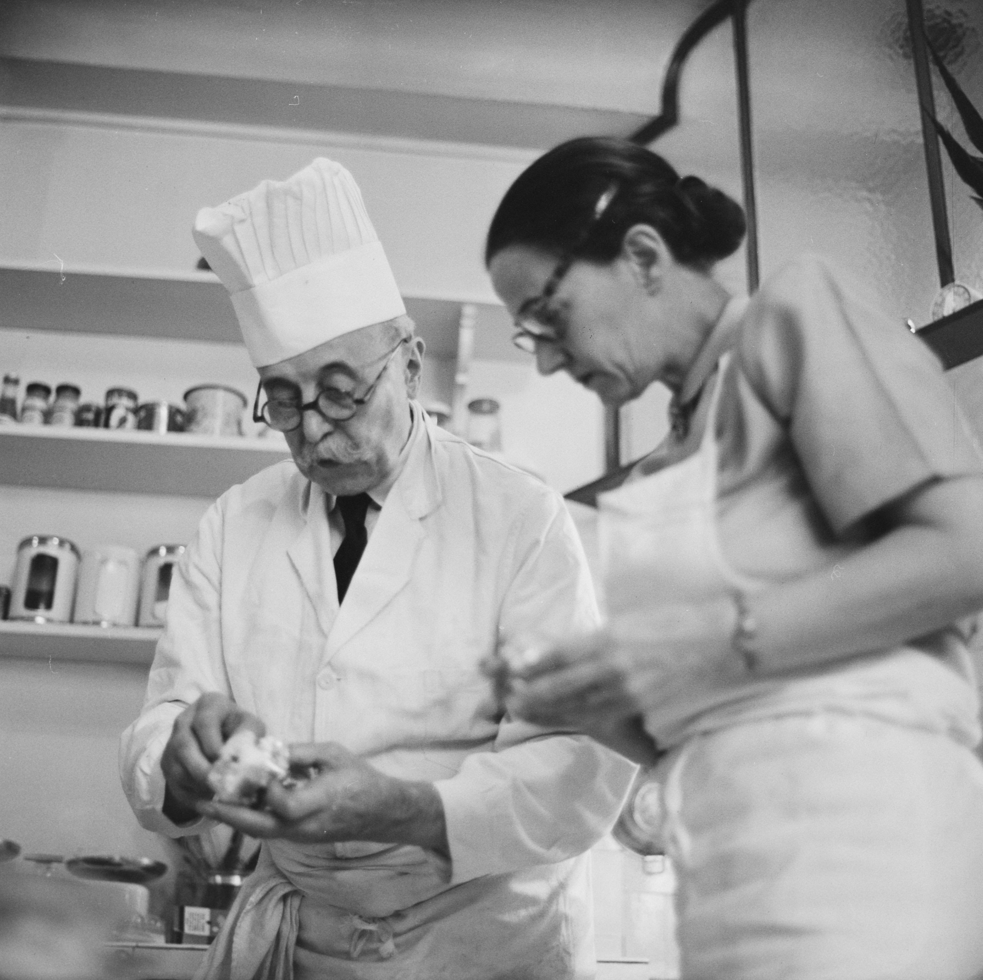 Julia Child working with Paul Child