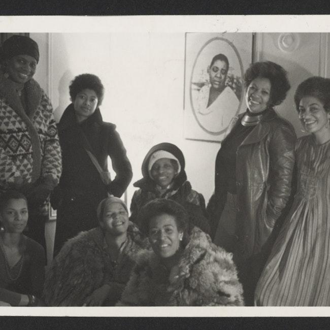 June Jordan, on far right, with Toni Morrison, Alice Walker, Nana Maynard, Ntzoke Shange, Vertamae Grosvenor and others