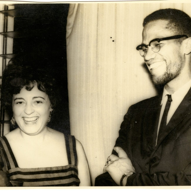 Ana Livia Cordero in Ghana with Malcolm X and others