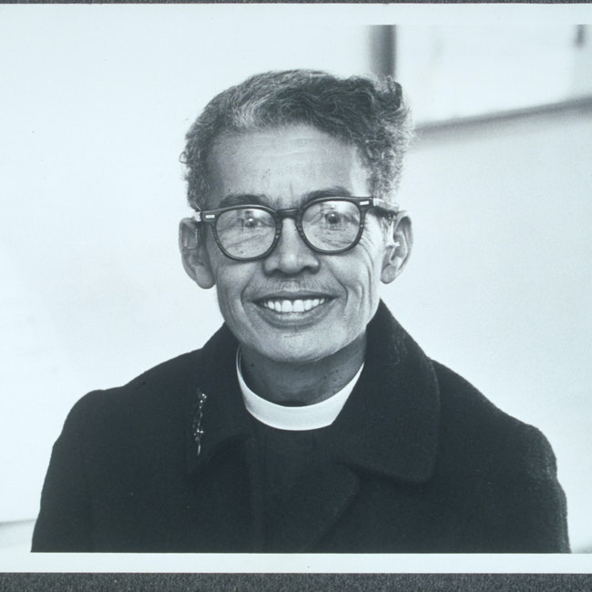 Portrait of Murray wearing her clerical collar