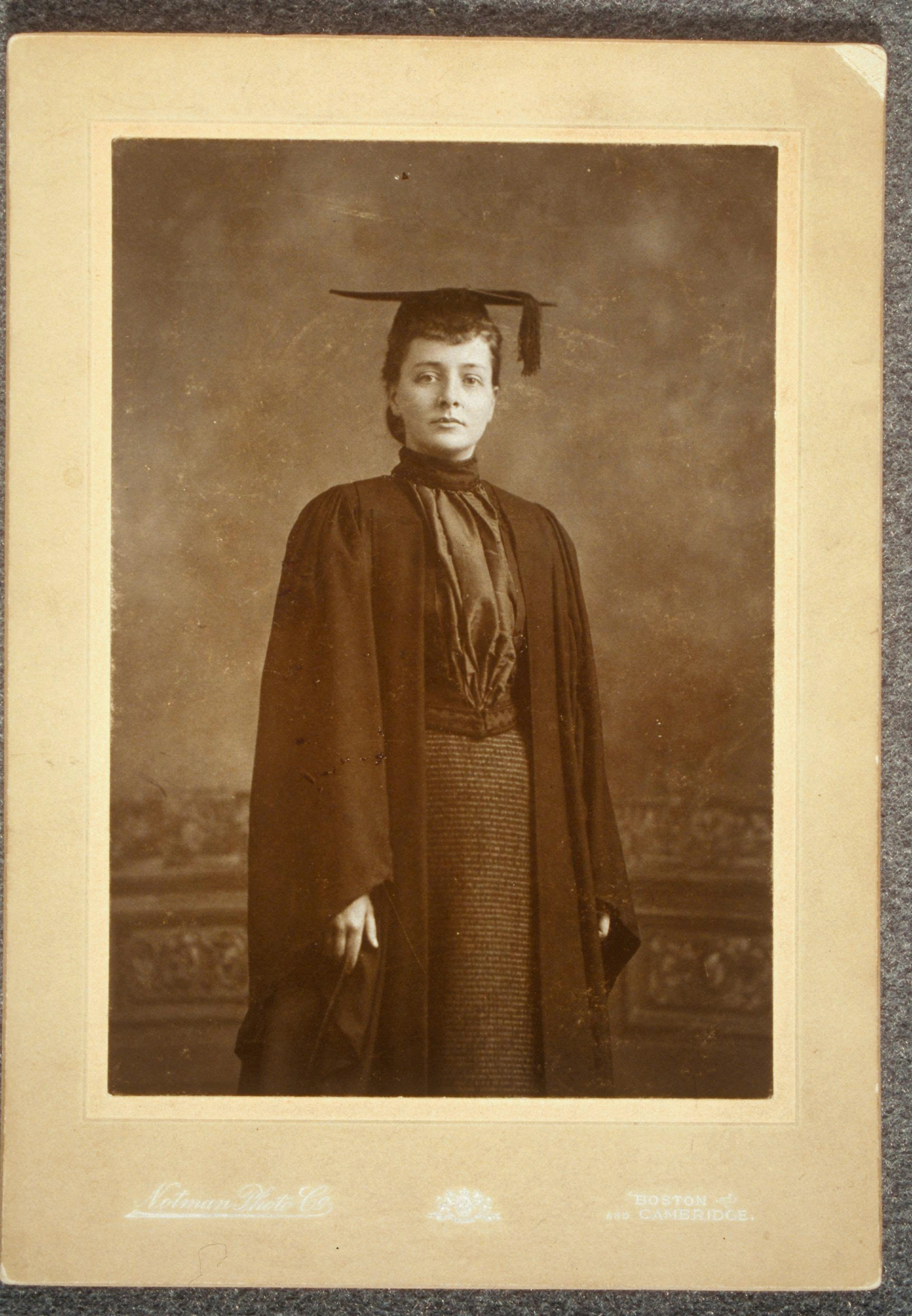 Portrait of Maud Wood Park wearing cap and gown