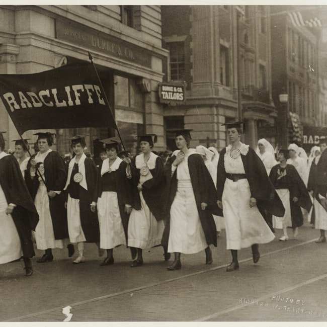 Group of women participating in War Bond Parade