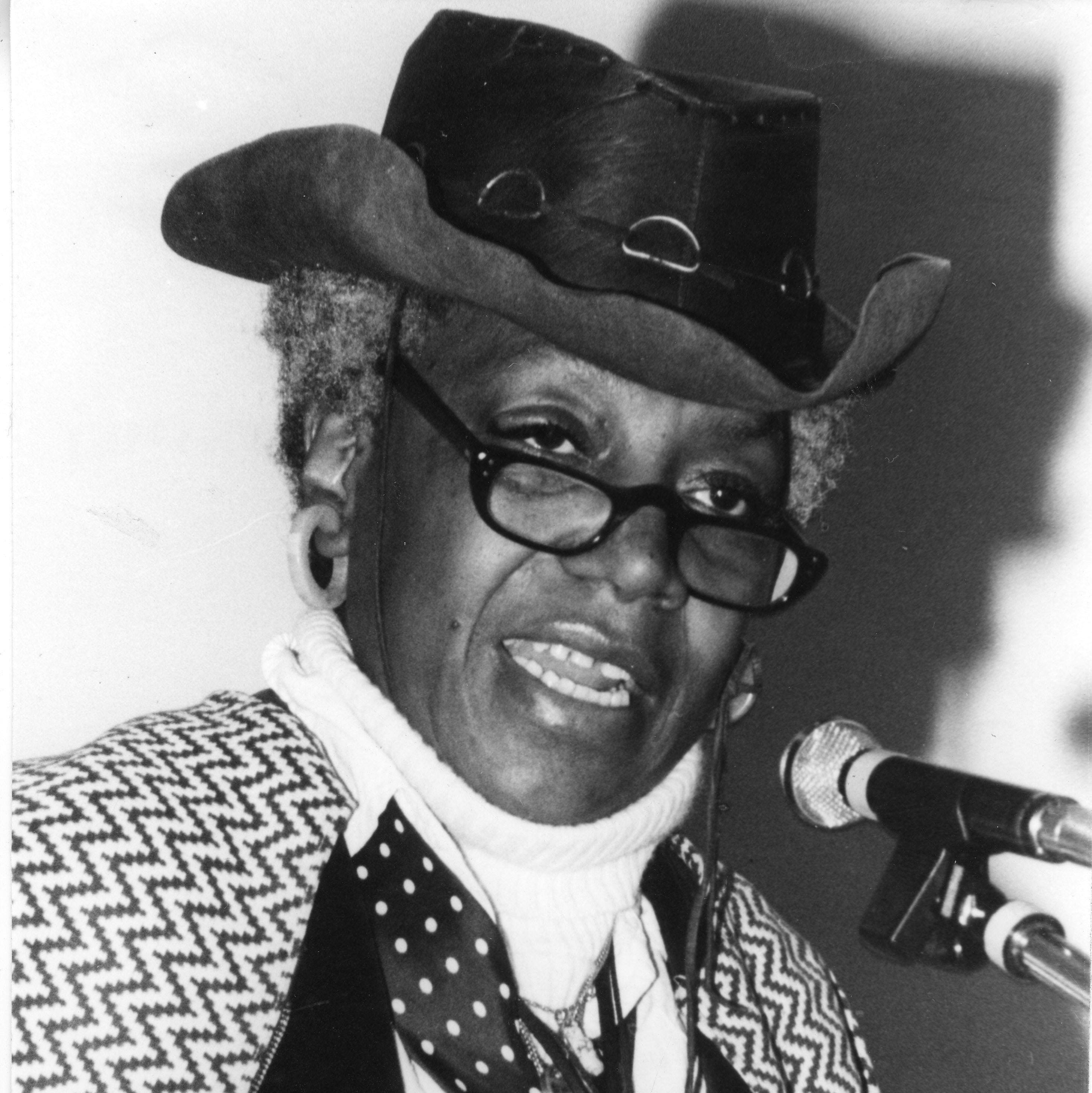 Portrait of Florynce Kennedy speaking at California State University