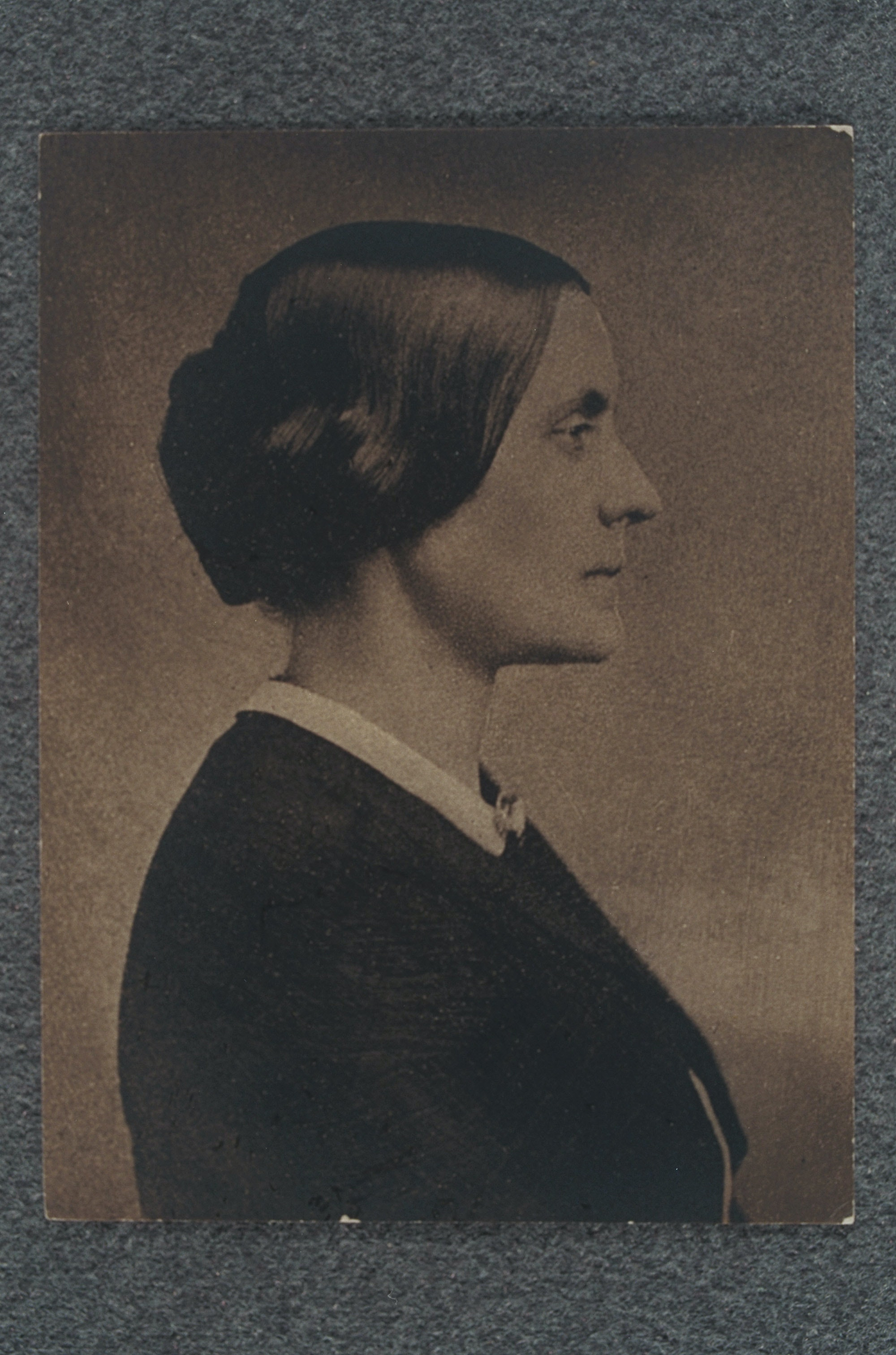 Side profile portrait of Susan B. Anthony