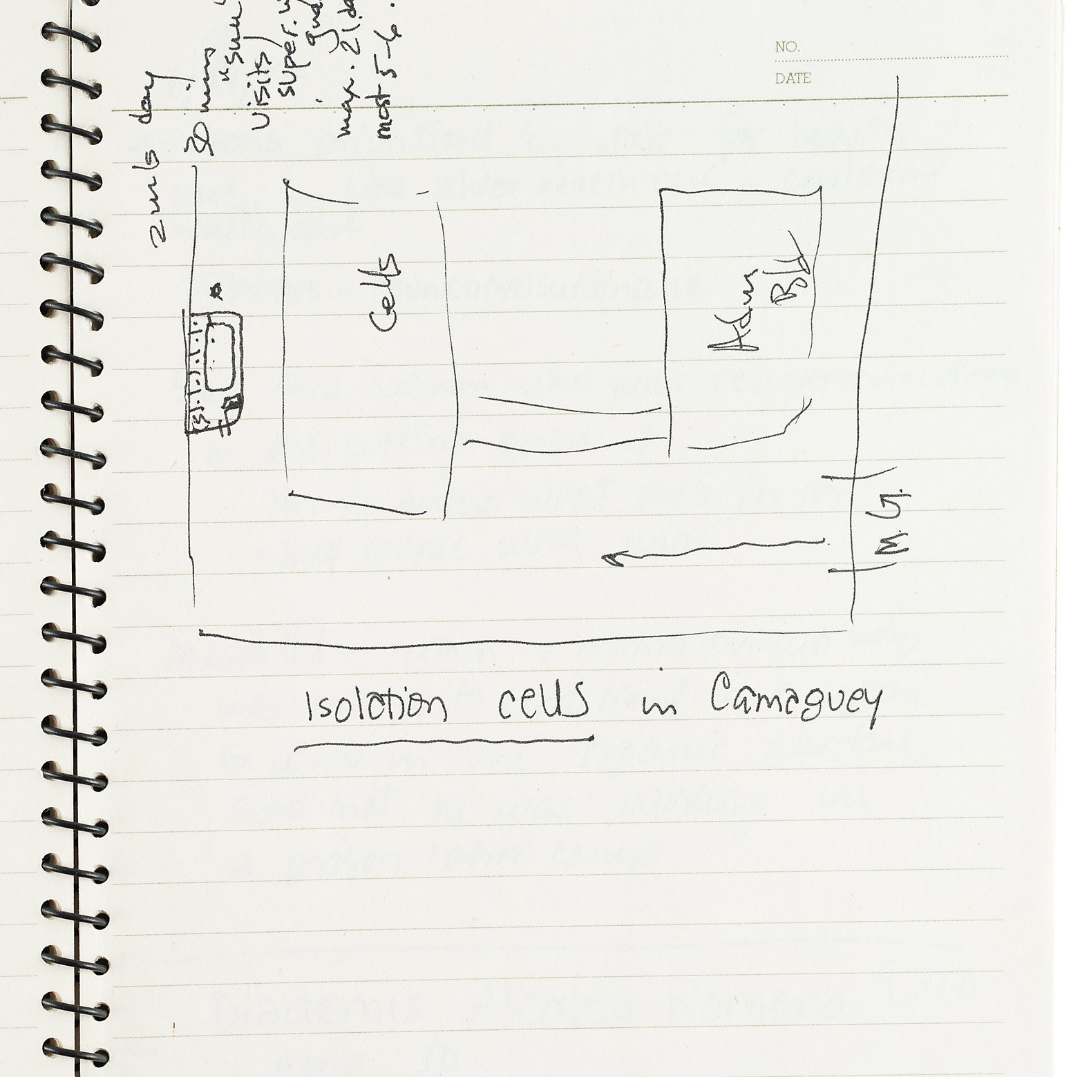 Sketch of women's prison cell on white lined paper.