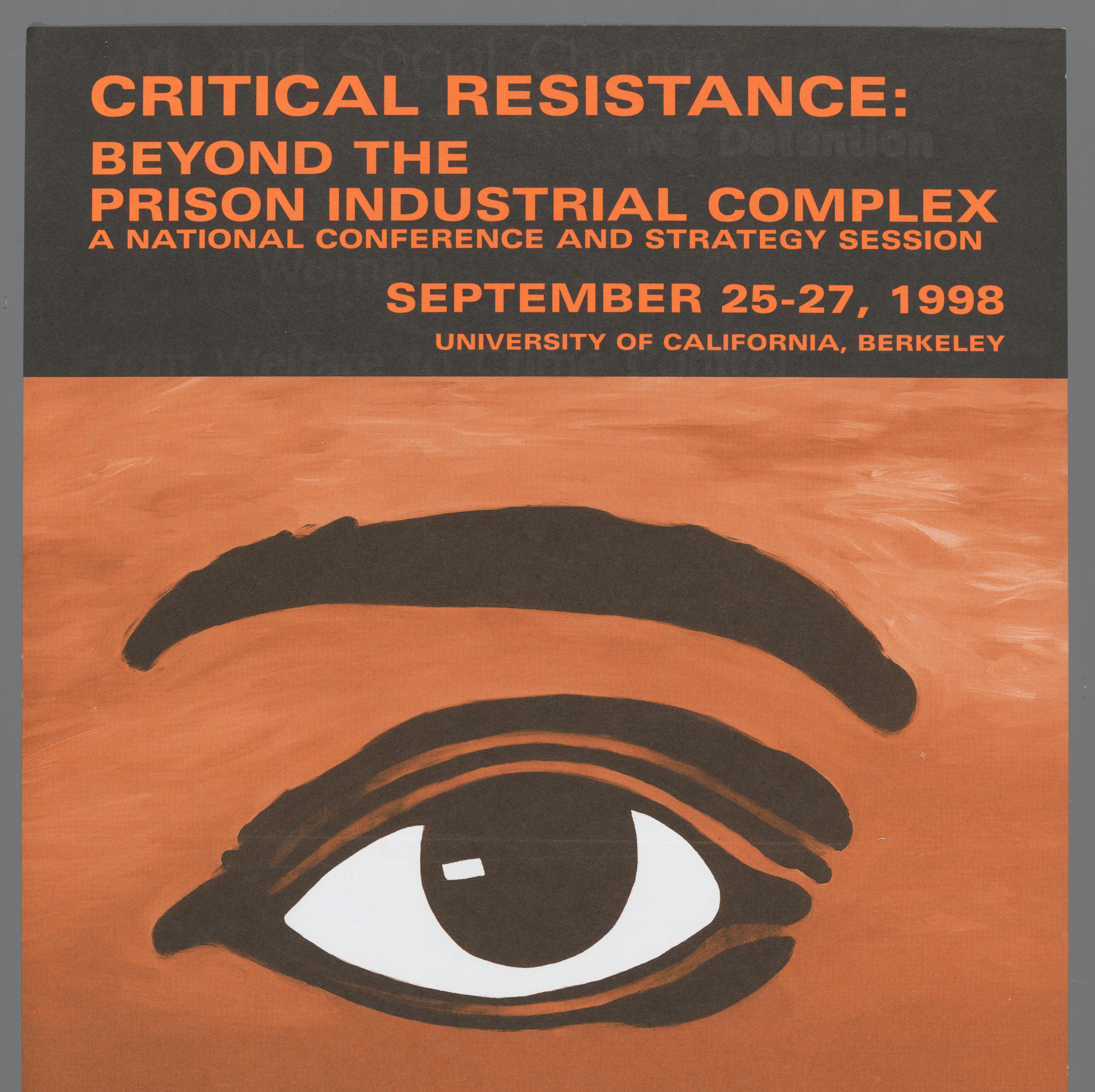 Critical Resistance Poster with image of singular eyeball and eyebrow. Background is in a burnt orange color.