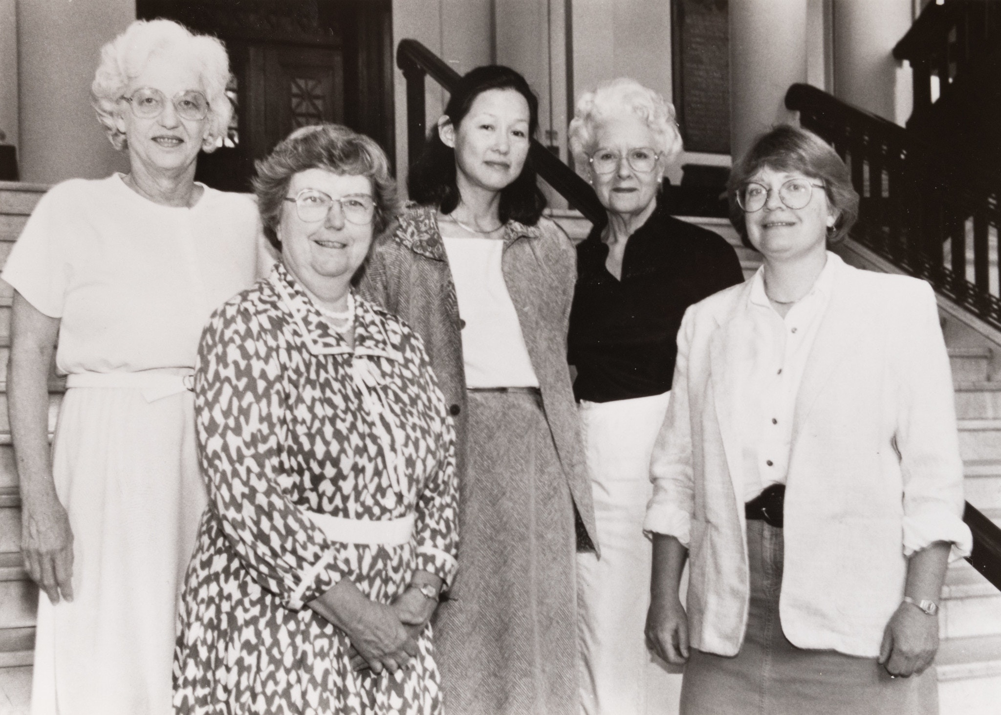 Sepia toned group photo of Harvard Professors, from left to right: Elizabeth Hay, Mary Ellen Avery, Alice Huang, Lynn Reed, Priscilla Schaffer