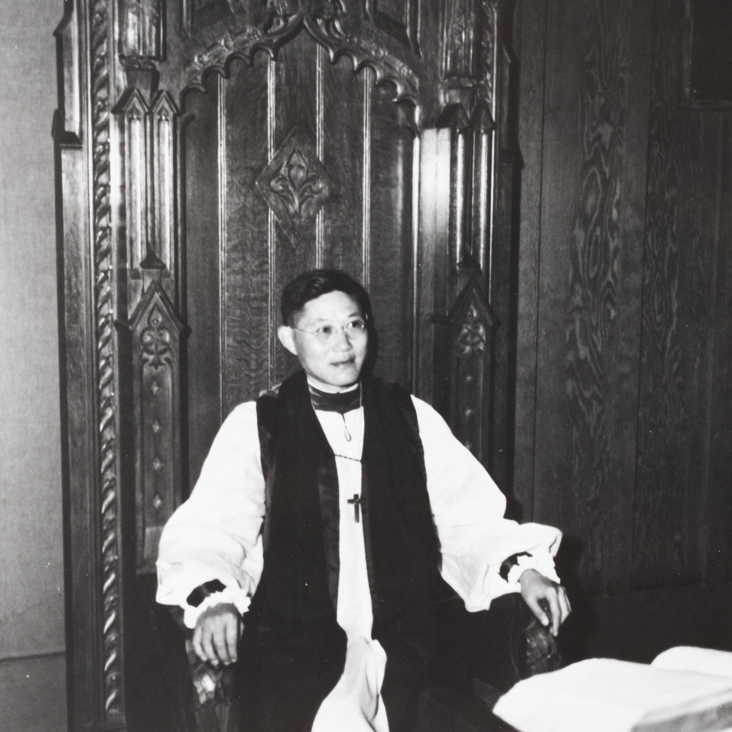 Black & White image of the Bishop of Southwest China seated