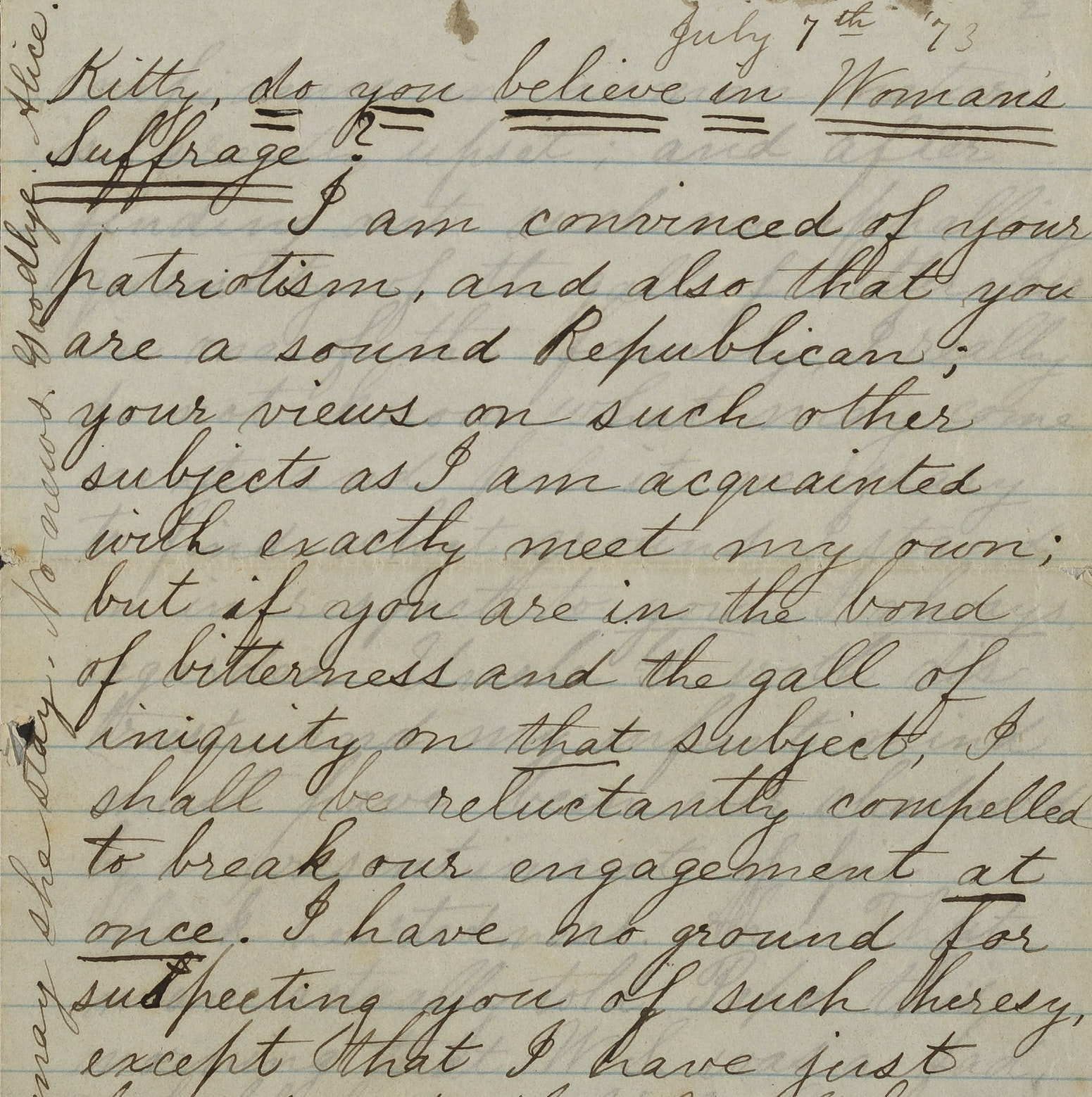 Letter from Alice Blackwell