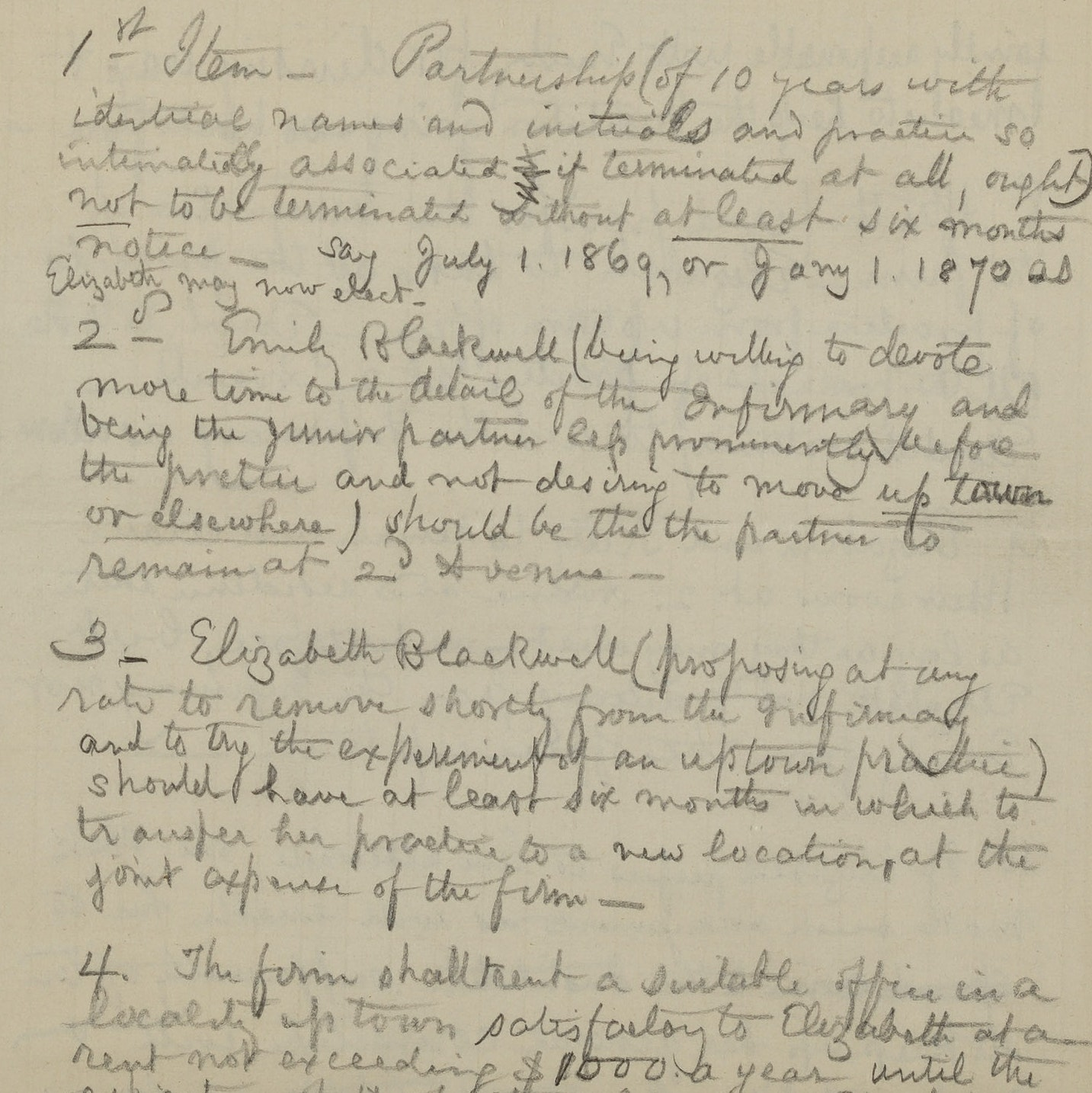 Agreement between Elizabeth and Emily Blackwell