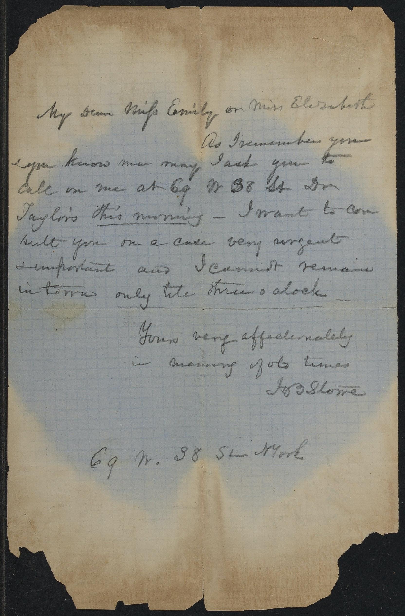 Note from Harriet Beecher Stowe