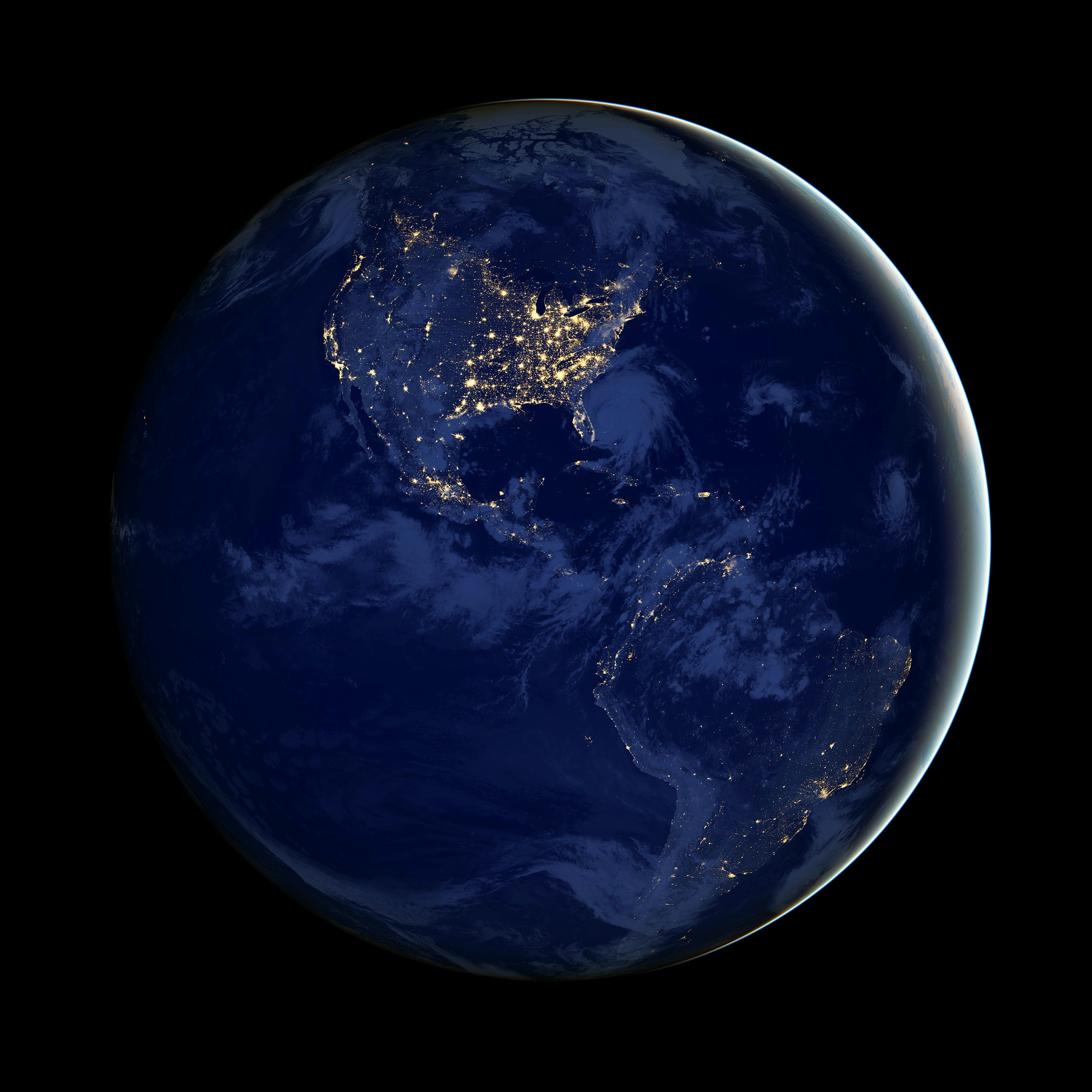 View of Earth from NASA. North America and South America is shown highlighting the stars in each continent