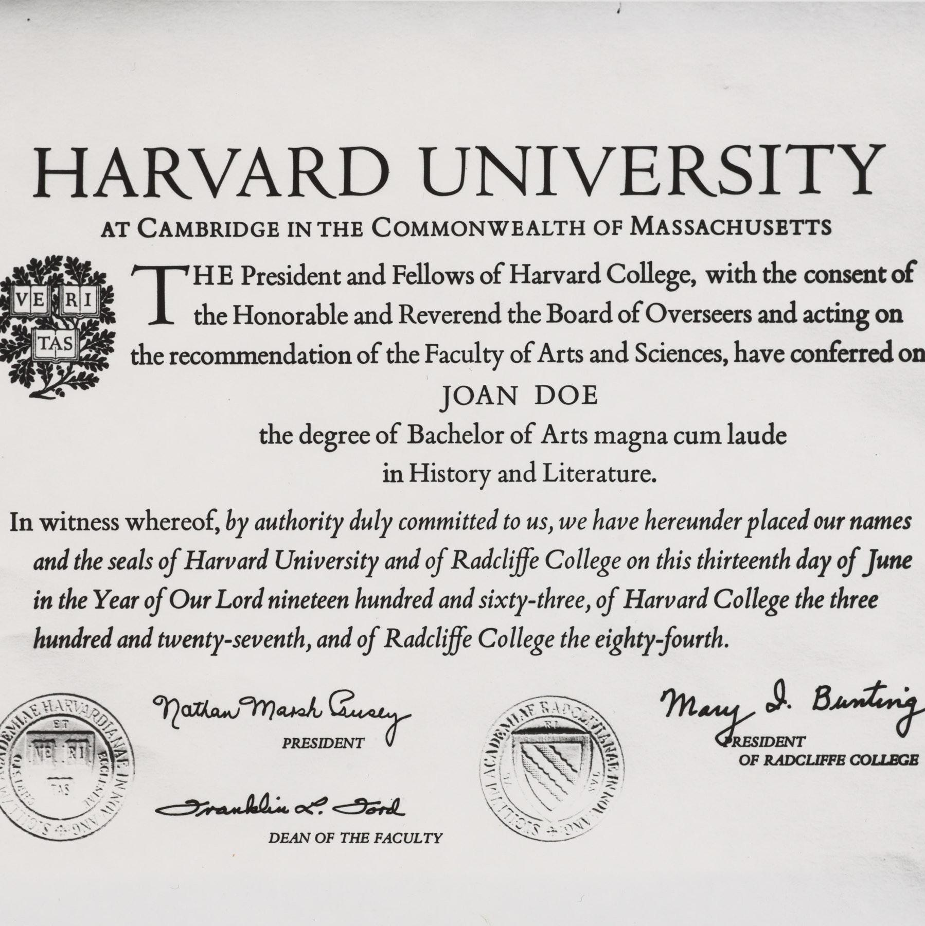 Sample Harvard degree