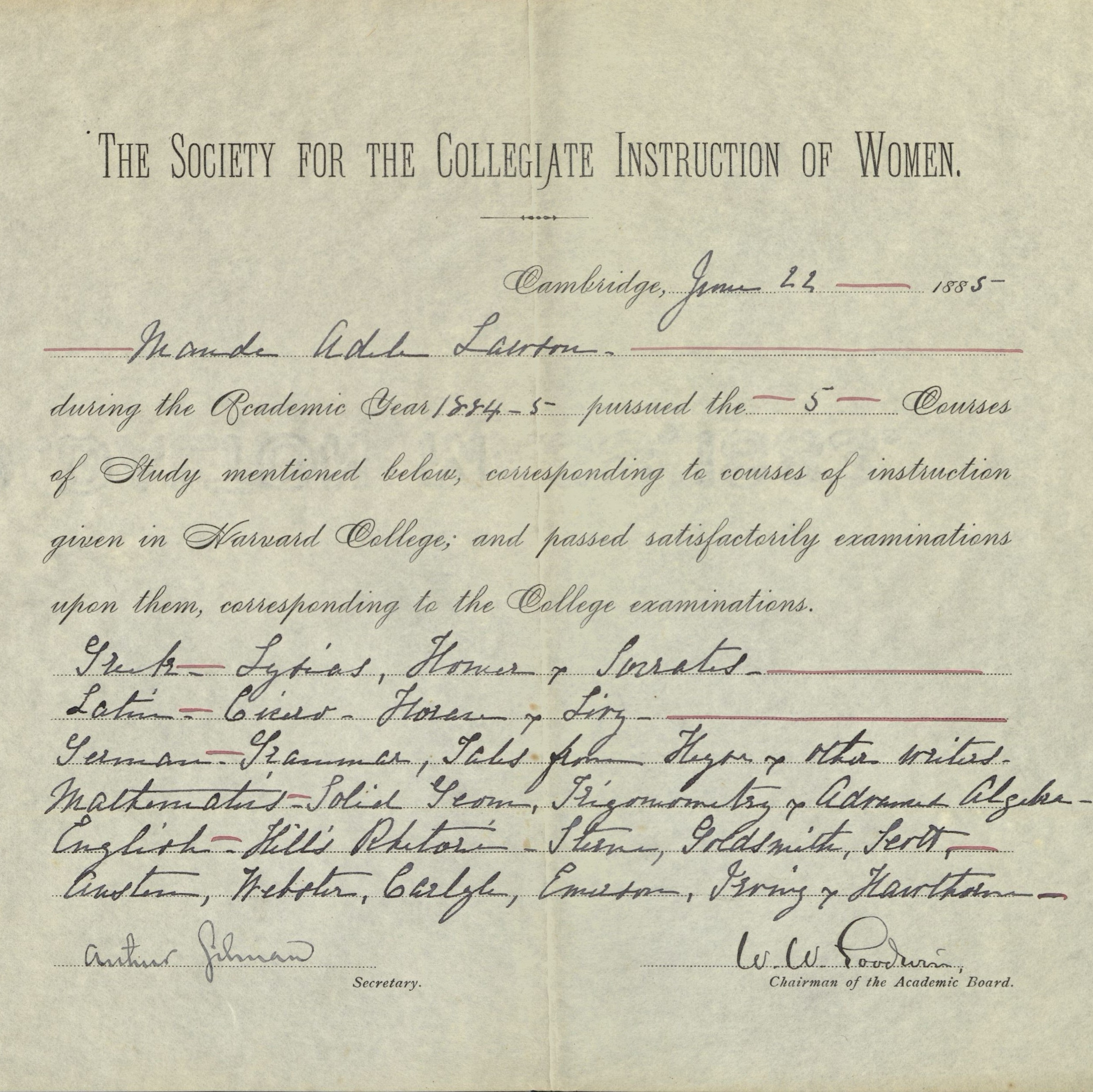 Society for the Collegiate Instruction of Women certificate