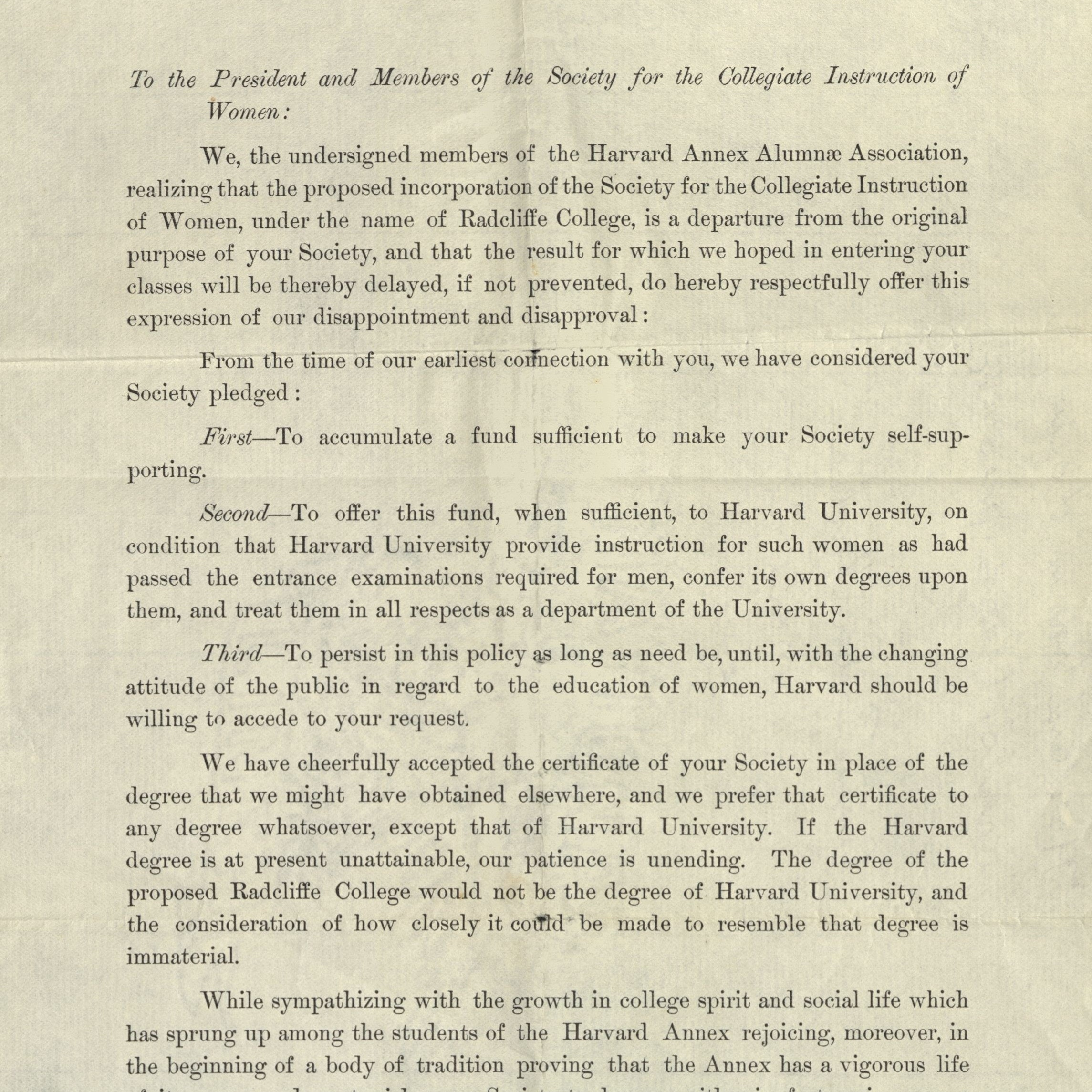 Petition against the granting of a Charter for Radcliffe College