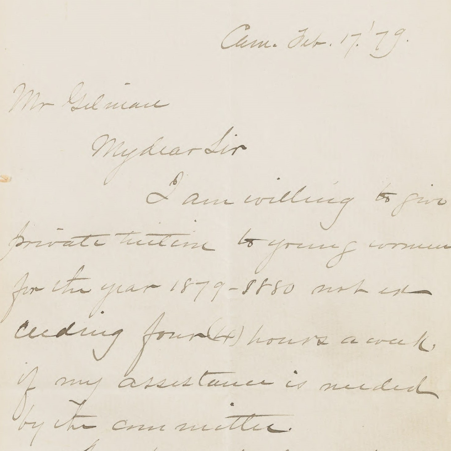 Letter to Arthur Gilman