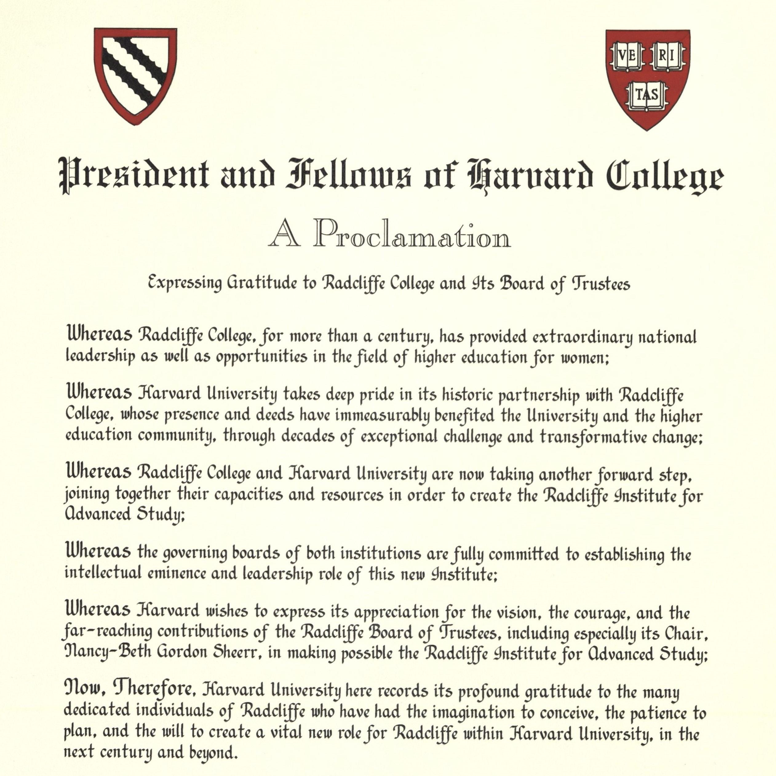 Harvard College Proclamation