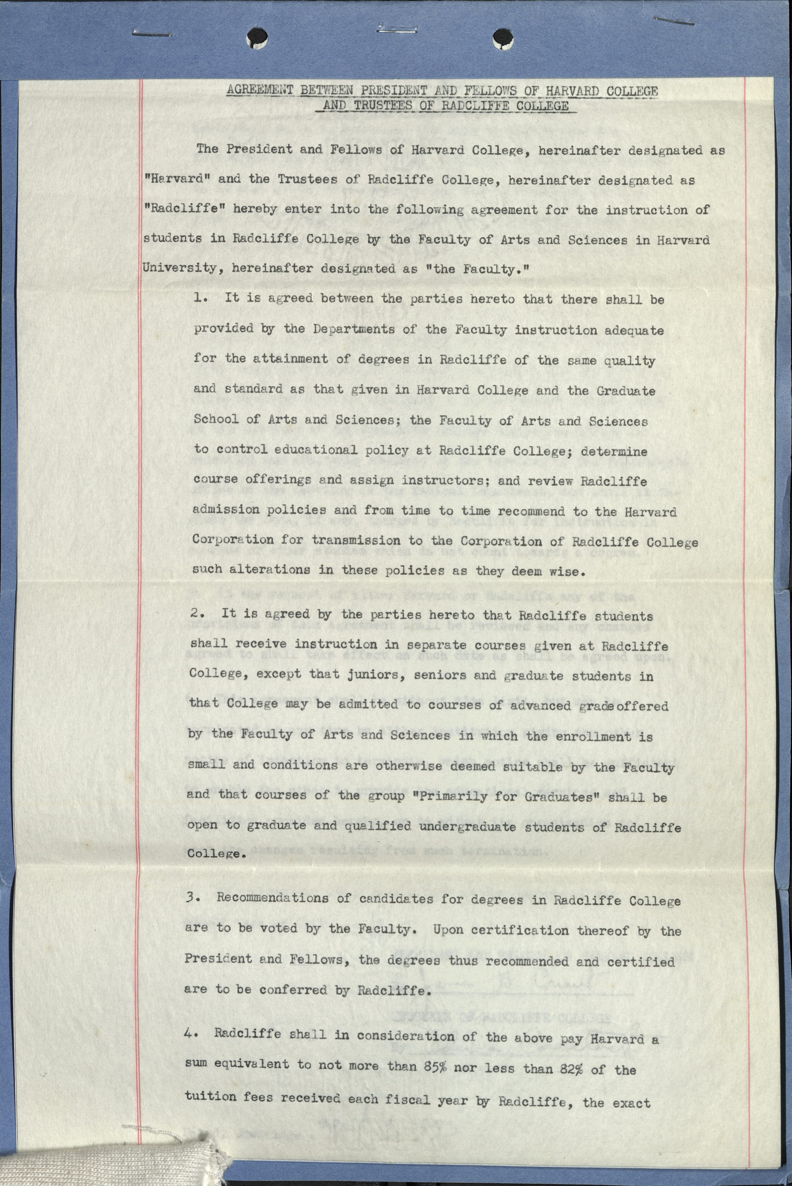 Radcliffe College and Harvard College agreement