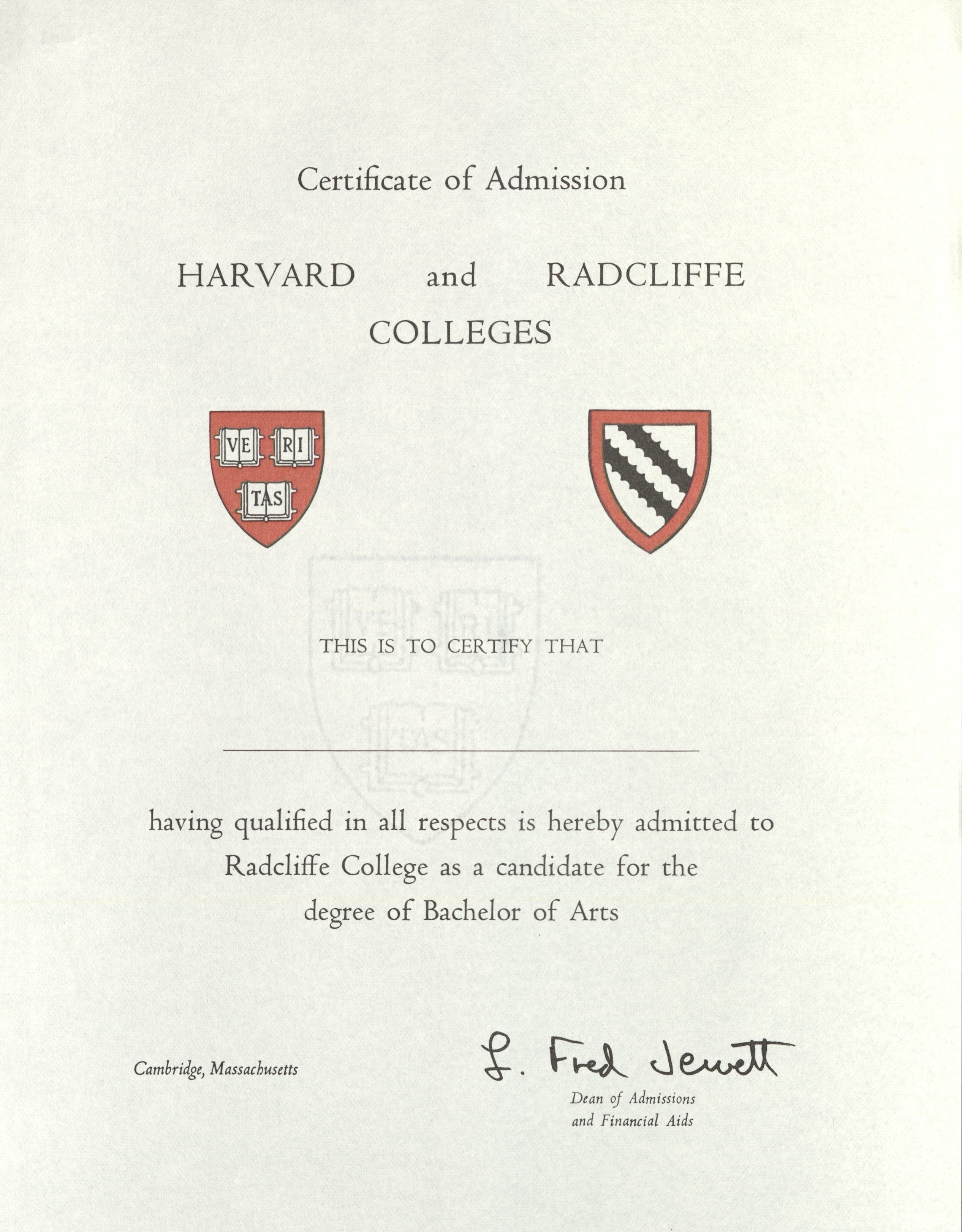 Admissions certificate