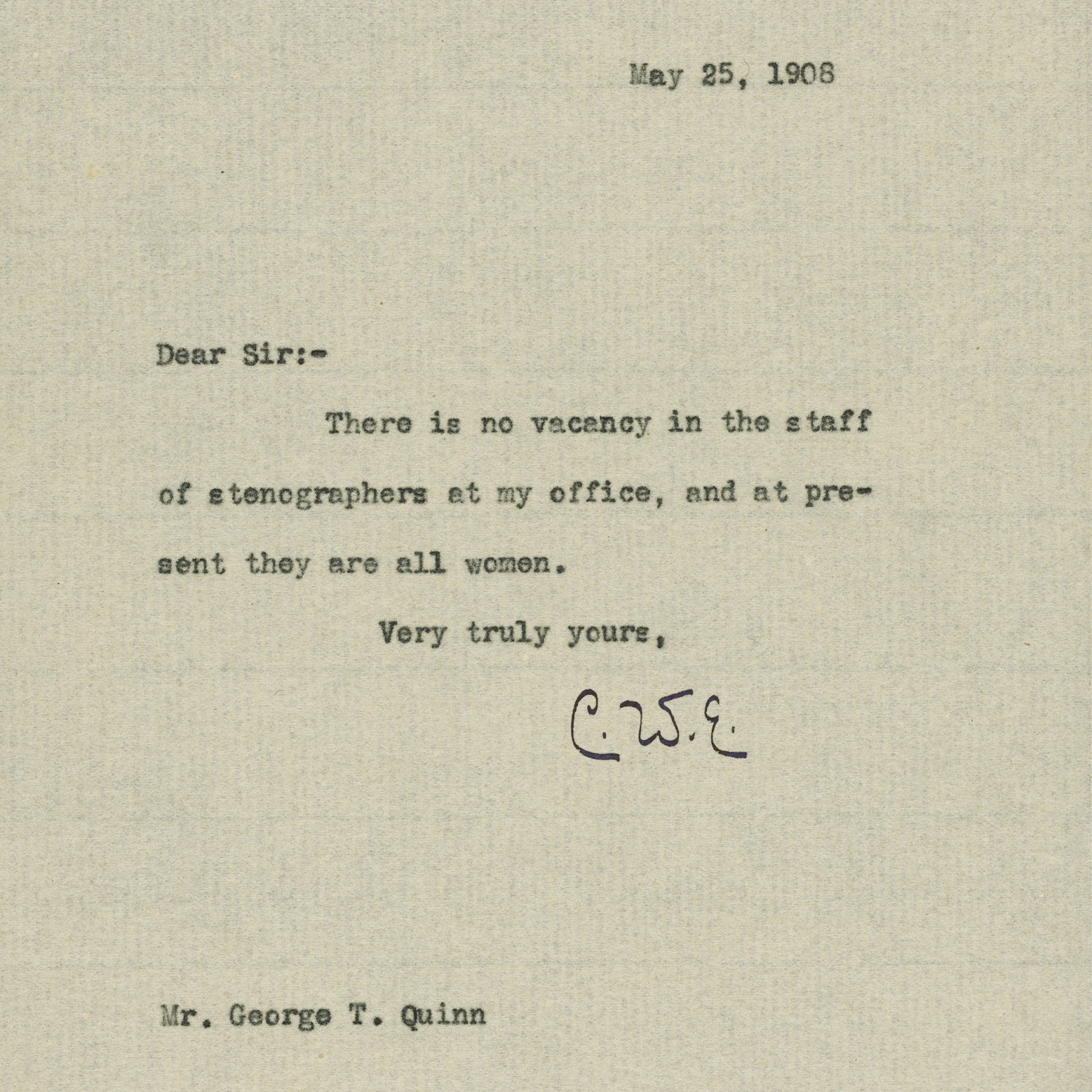 Letter regarding steno pool employment