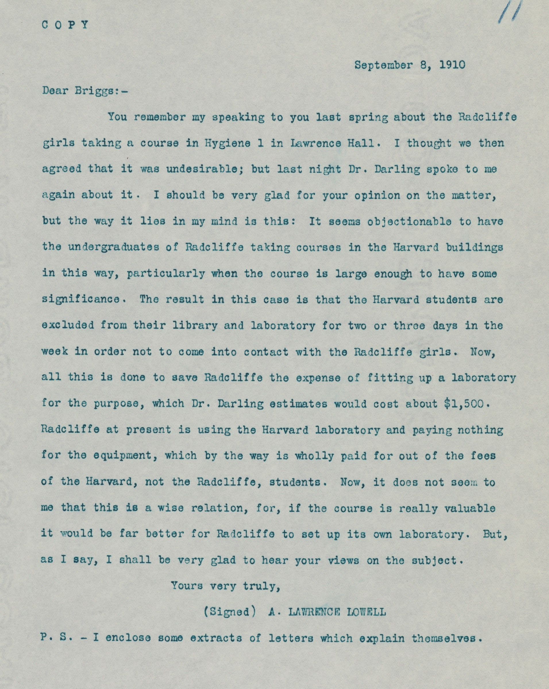Letter regarding women students