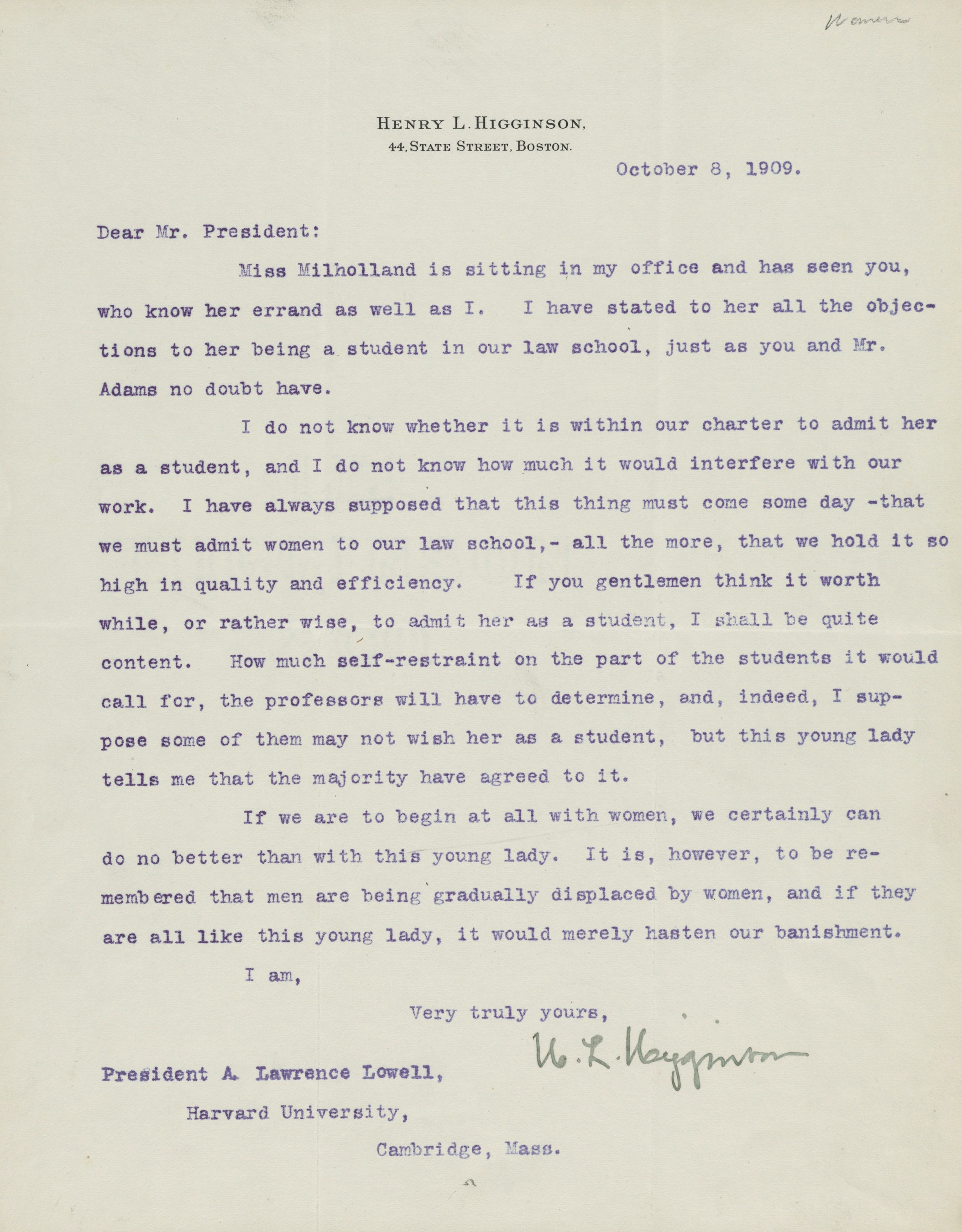 Letter regarding Inez Milholland