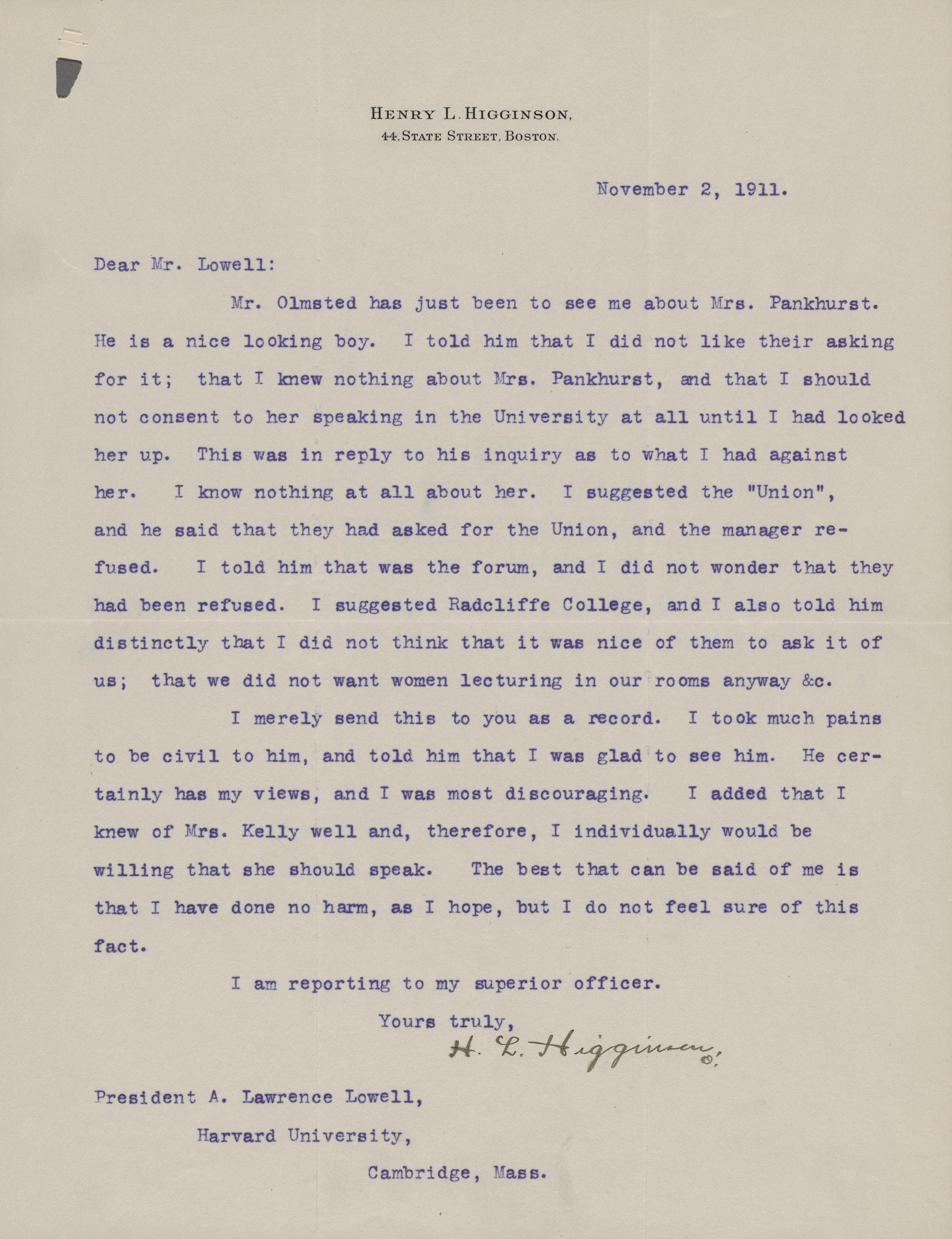Letter regarding Mrs. Emmeline Pankhurst