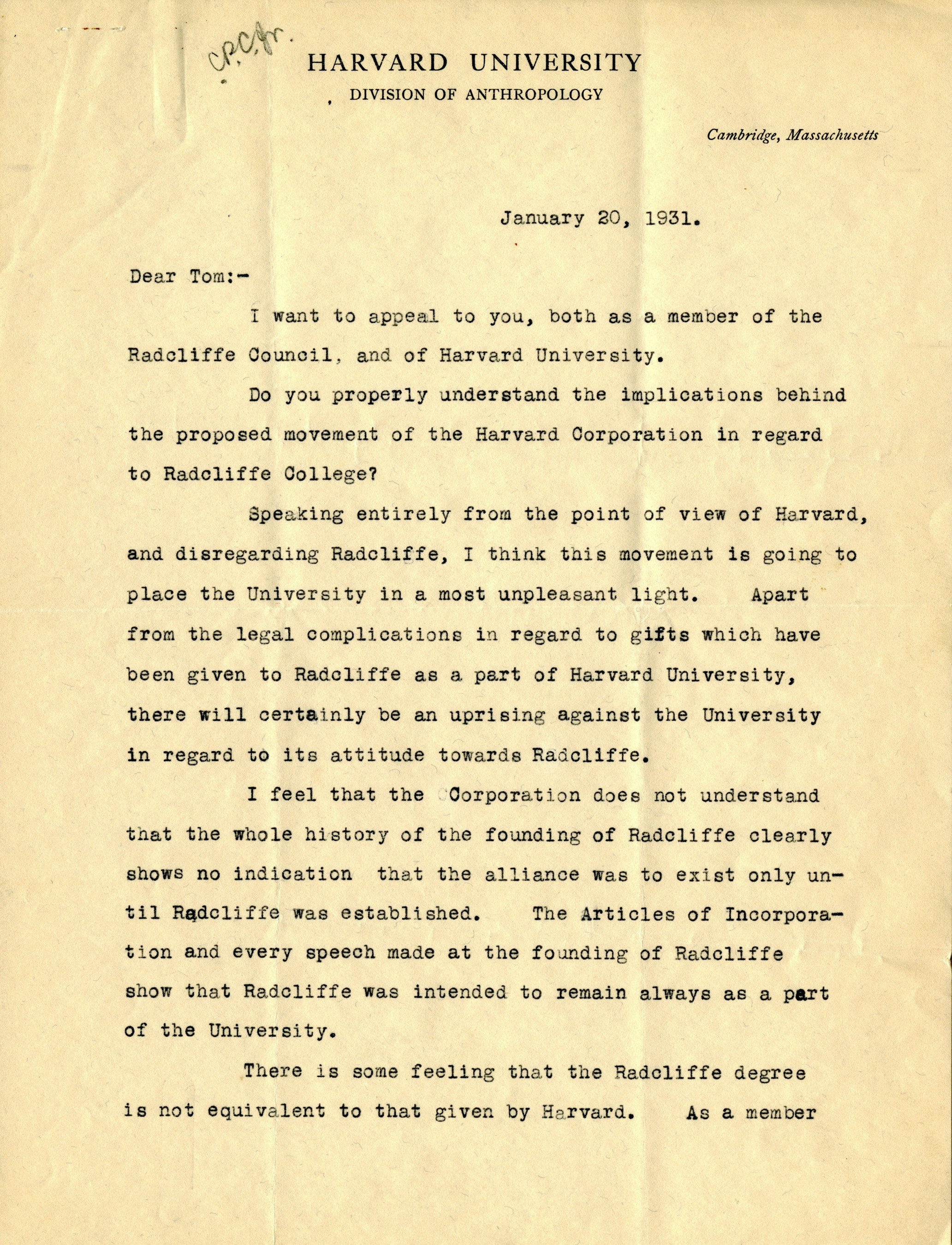 Letter from Dr. Alfred M. Tozzer