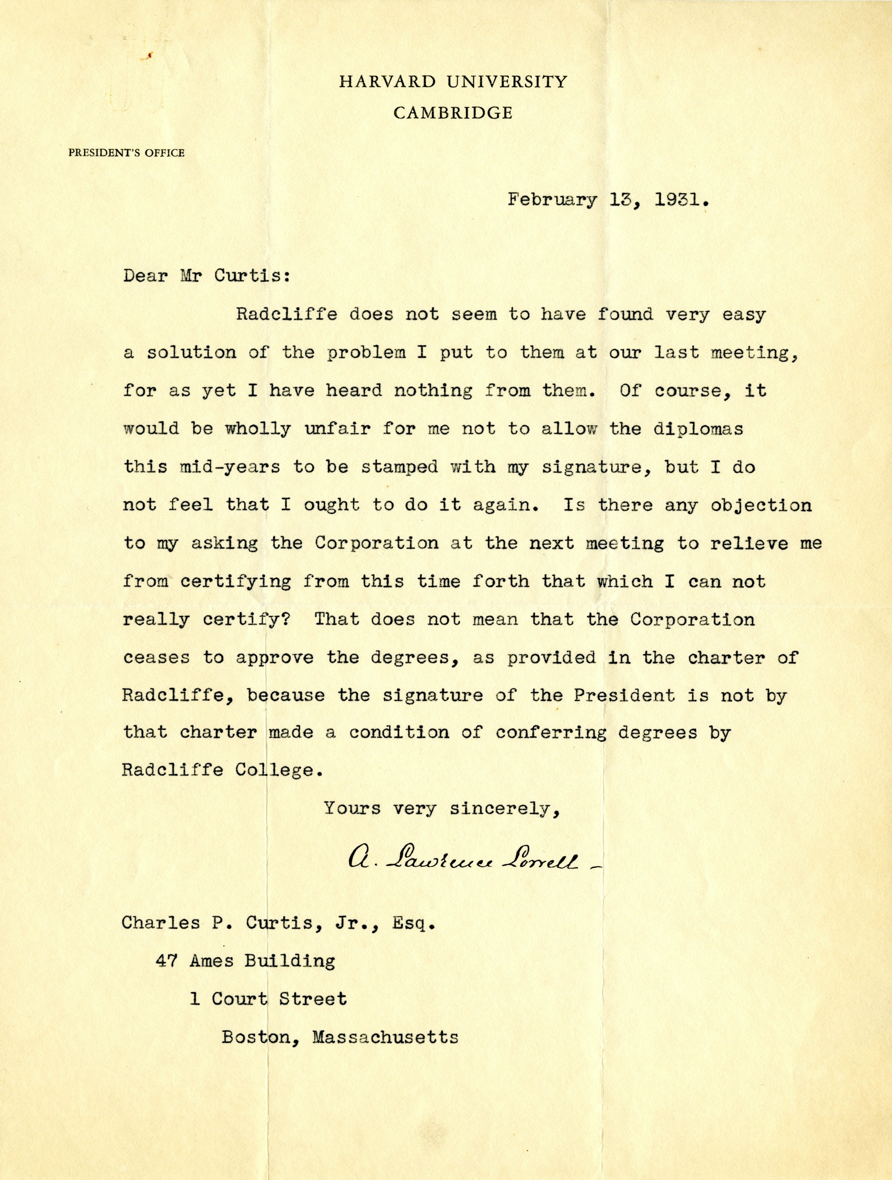 Letter from President A. Lawrence Lowell