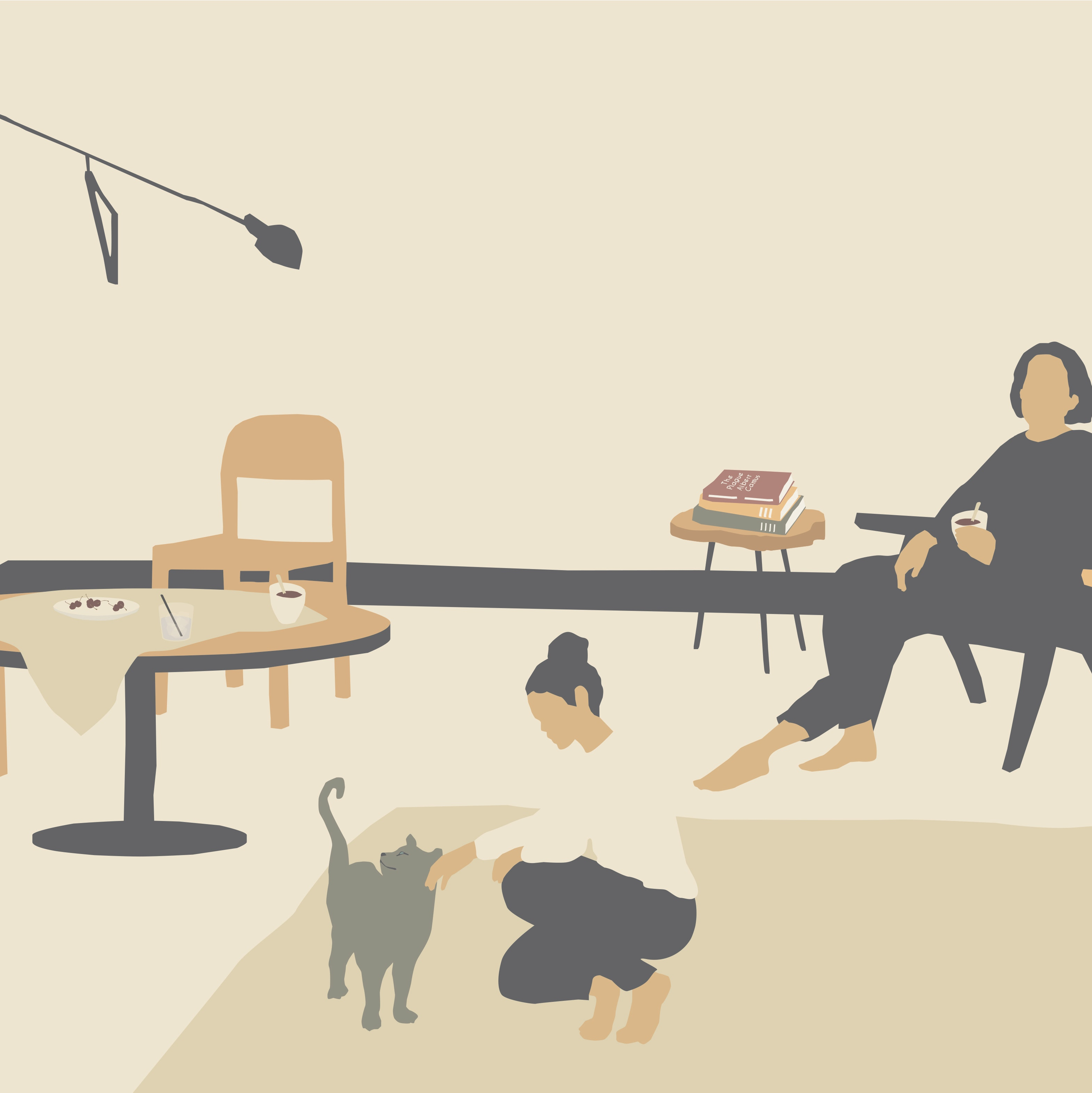 Illustration of a classroom, one person seated and one person petting a cat