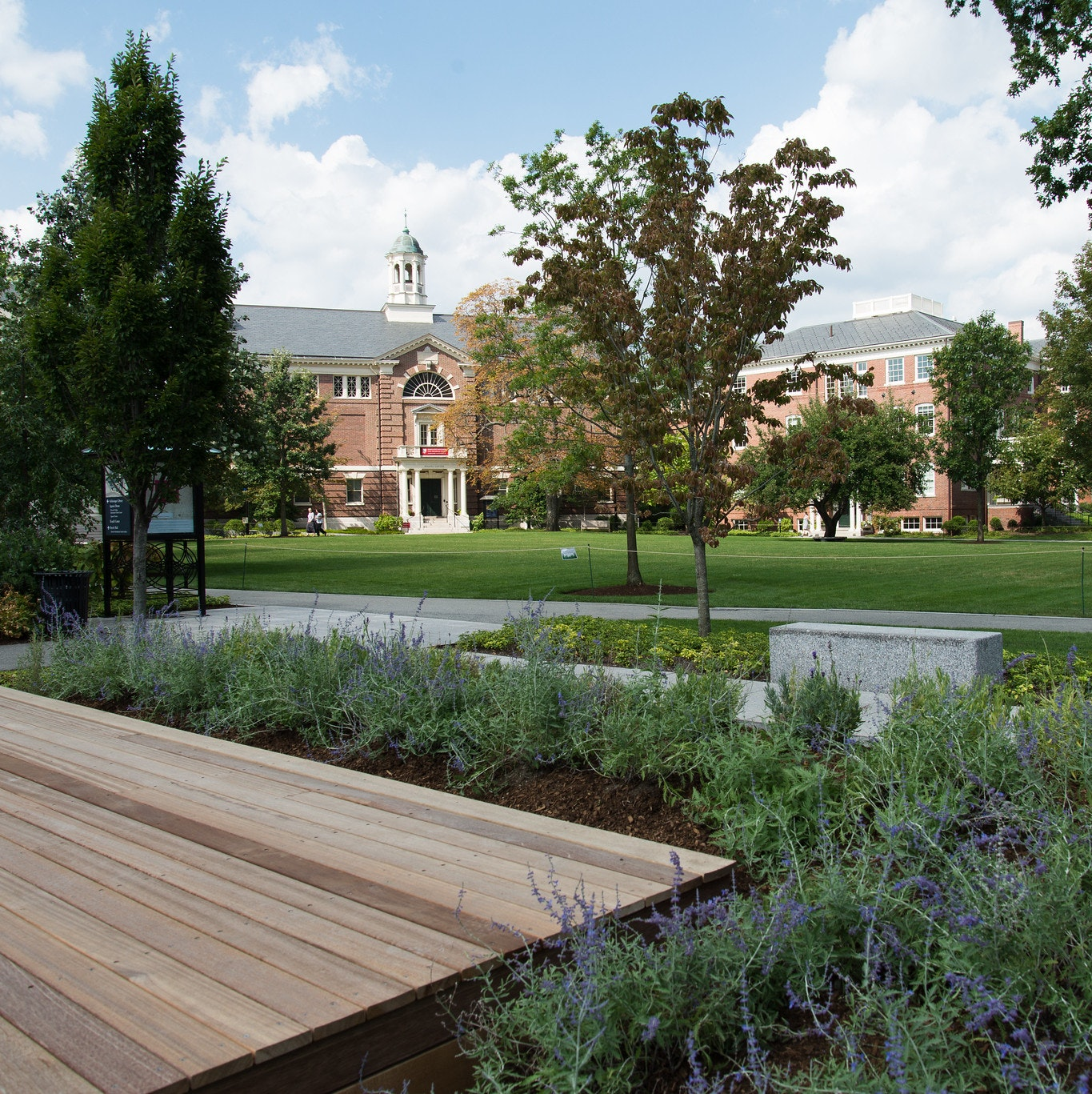 Wooden, platform like stage area, with gray pathways and brick buildings in the distance. Platform is surrounding by flowers and trees along the courtyard area. View is from the platform.